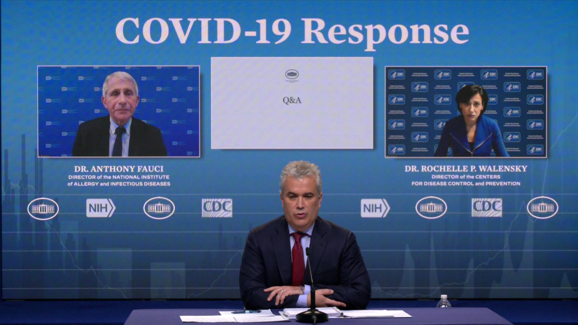 Jeff Zients, White House Covid-19 response coordinator, center, speaks during a briefing on February 24.