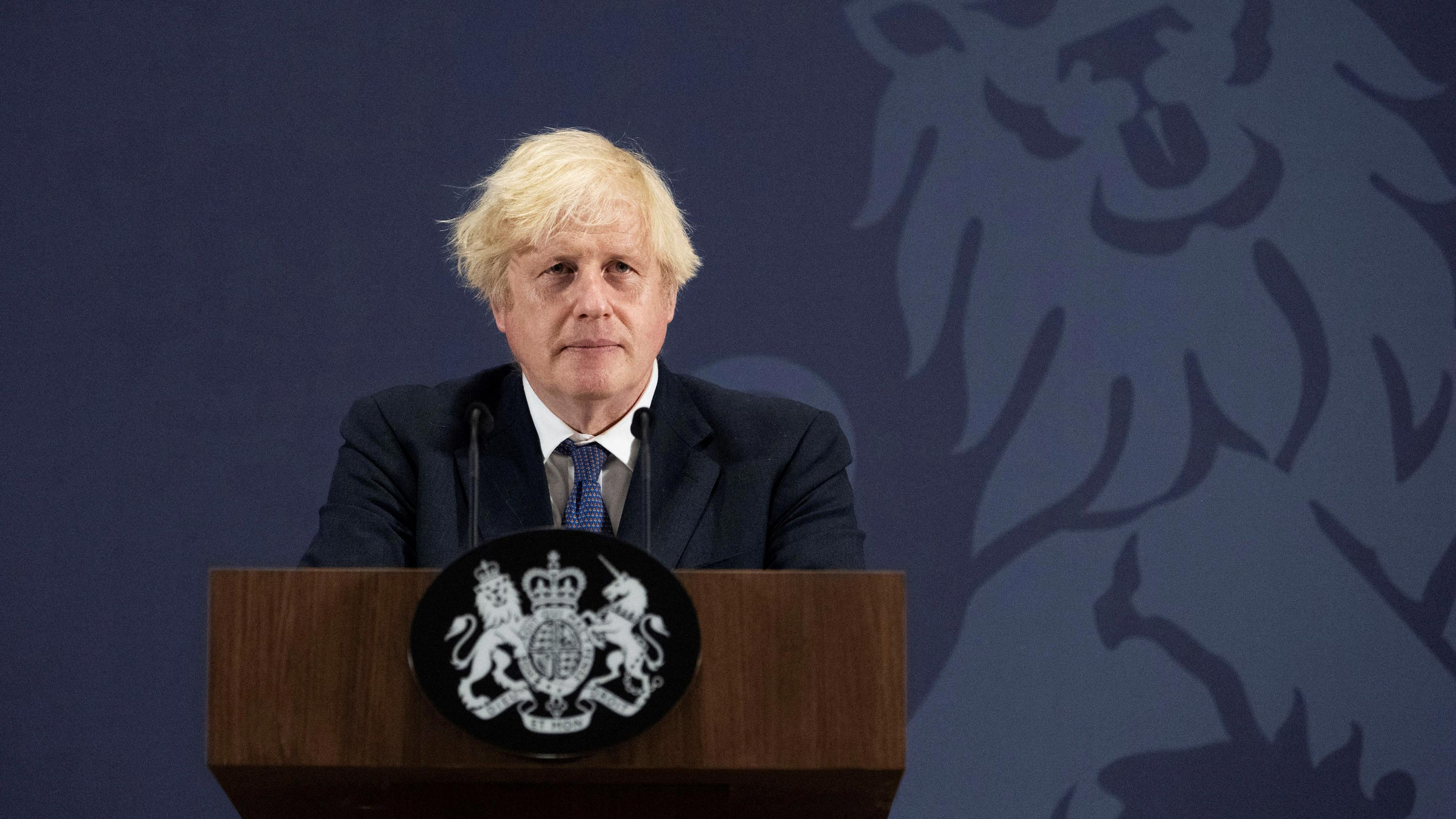 UK Prime Minister Boris Johnson speaks during a visit to the UK Battery Industrialisation Centre in Coventry, England, on July 15.