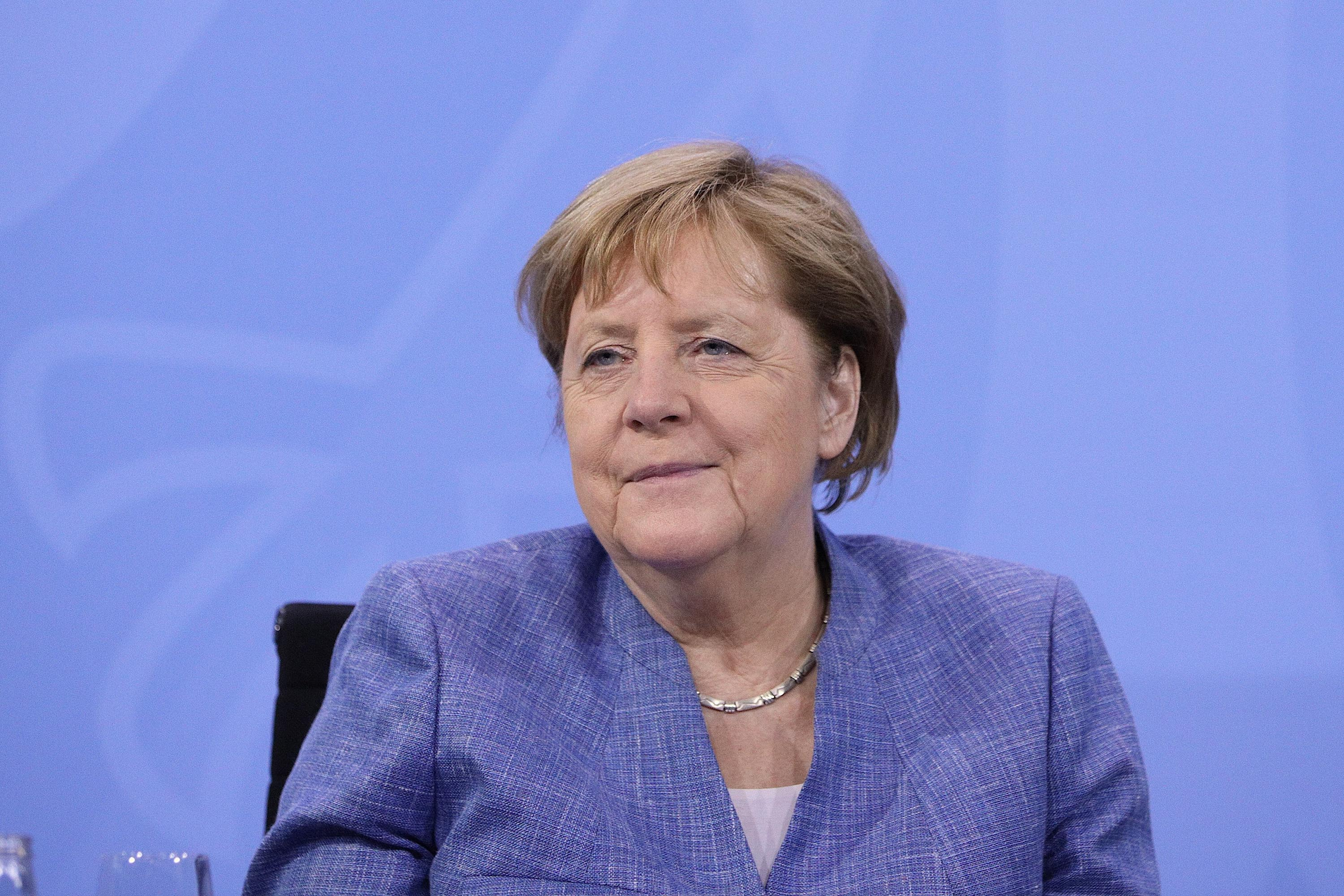 German Chancellor Angela Merkel is pictured during a press conference on June 10, in Berlin, Germany.