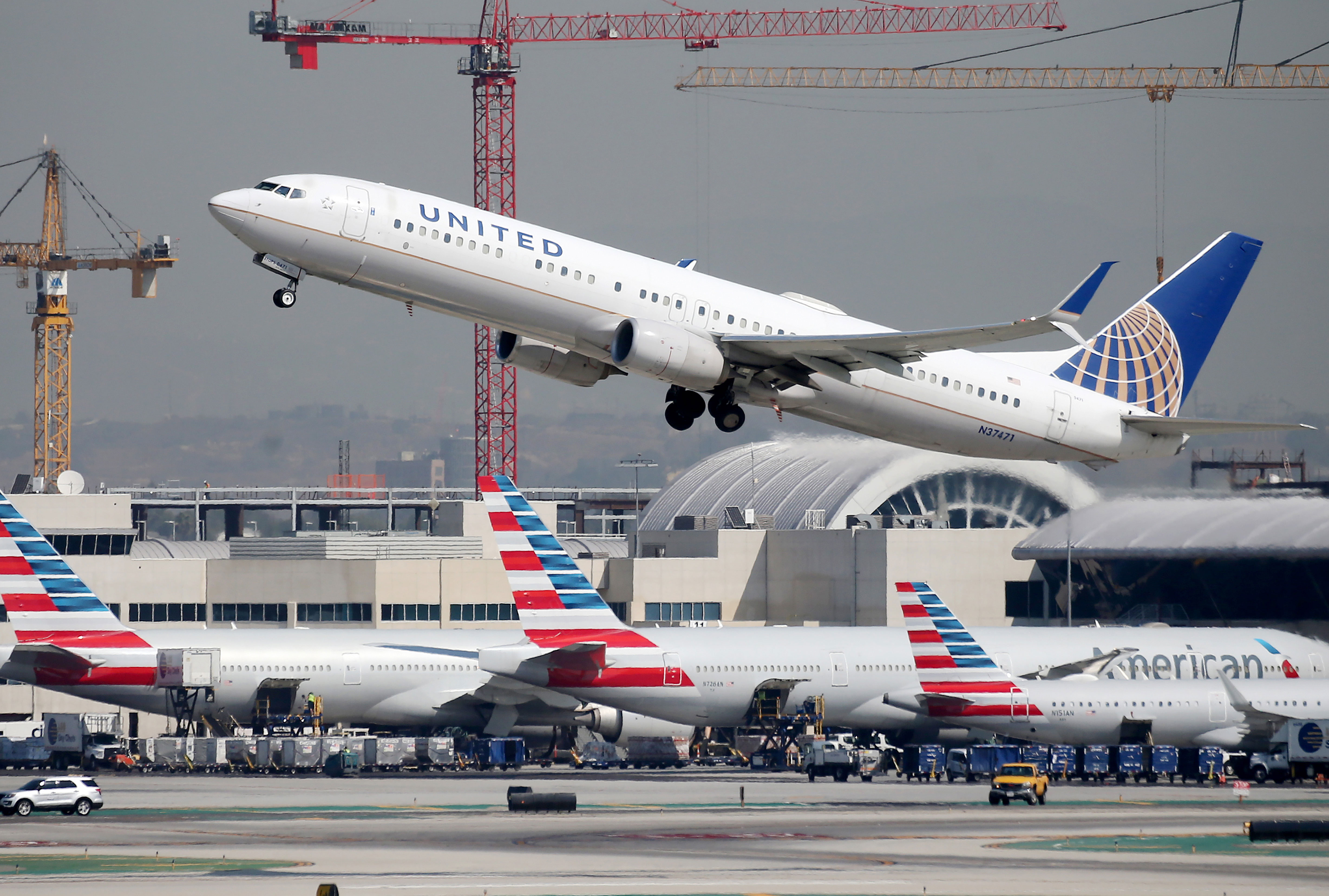 A United Airlines plane takes off at Los Angeles International Airport in California on October 1, 2020.