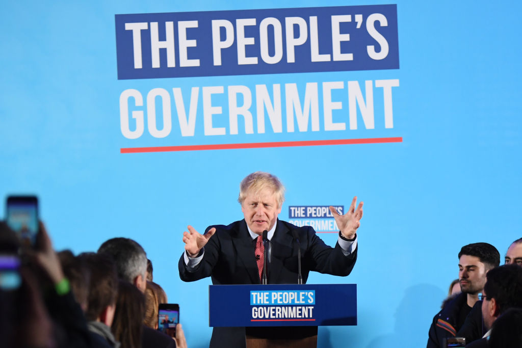 Boris Johnson addressing supporters in London on Friday morning.