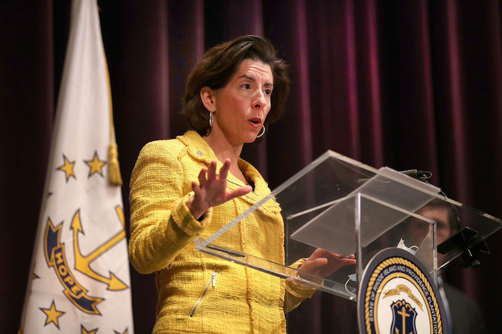Rhode Island Gov. Gina M. Raimondo speaks at a news conference giving a coronavirus update at the Veterans Memorial Auditorium in Providence, Rhode Island on May 12.