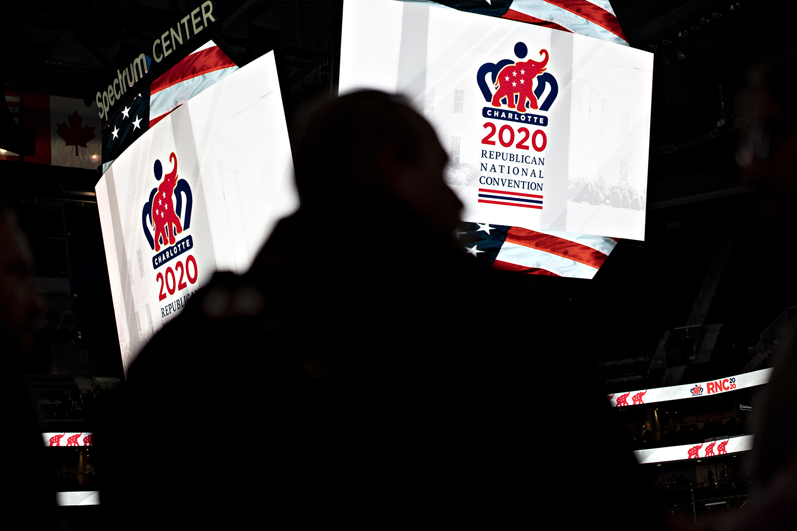 2020 Republican National Convention (RNC) signage is displayed inside the Spectrum Center during a media walk-through in Charlotte, North Carolina on November 12, 2019.