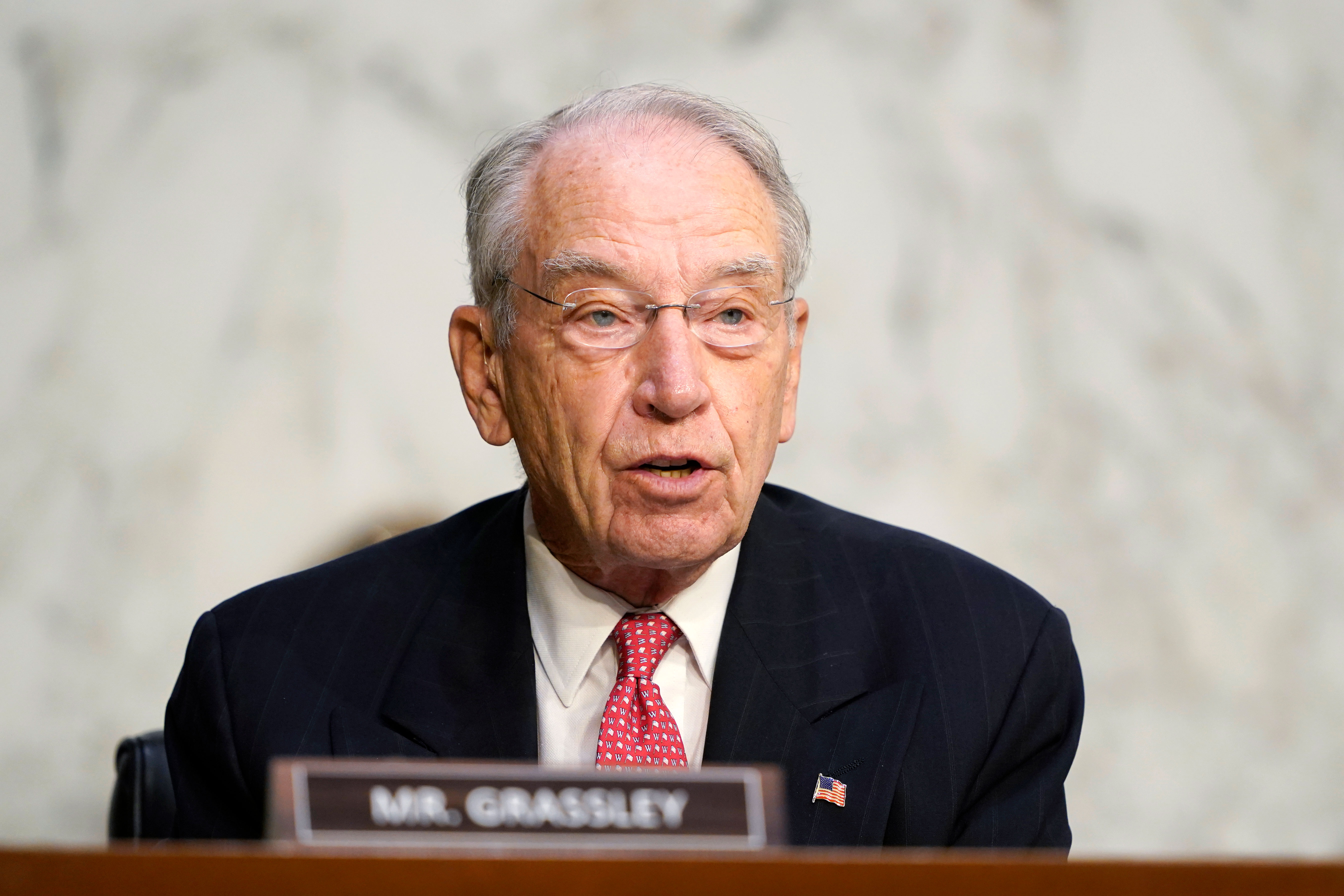 Sen. Chuck Grassley speaks during a confirmation hearing in Washington, DC, on October 14.