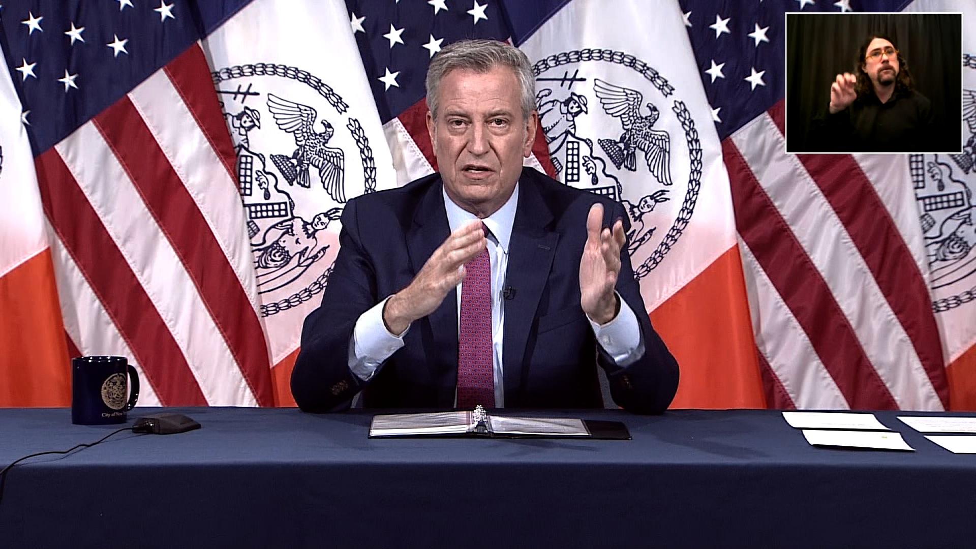 New York Mayor Bill de Blasio speaks during a coronavirus briefing in New York City on May 19.