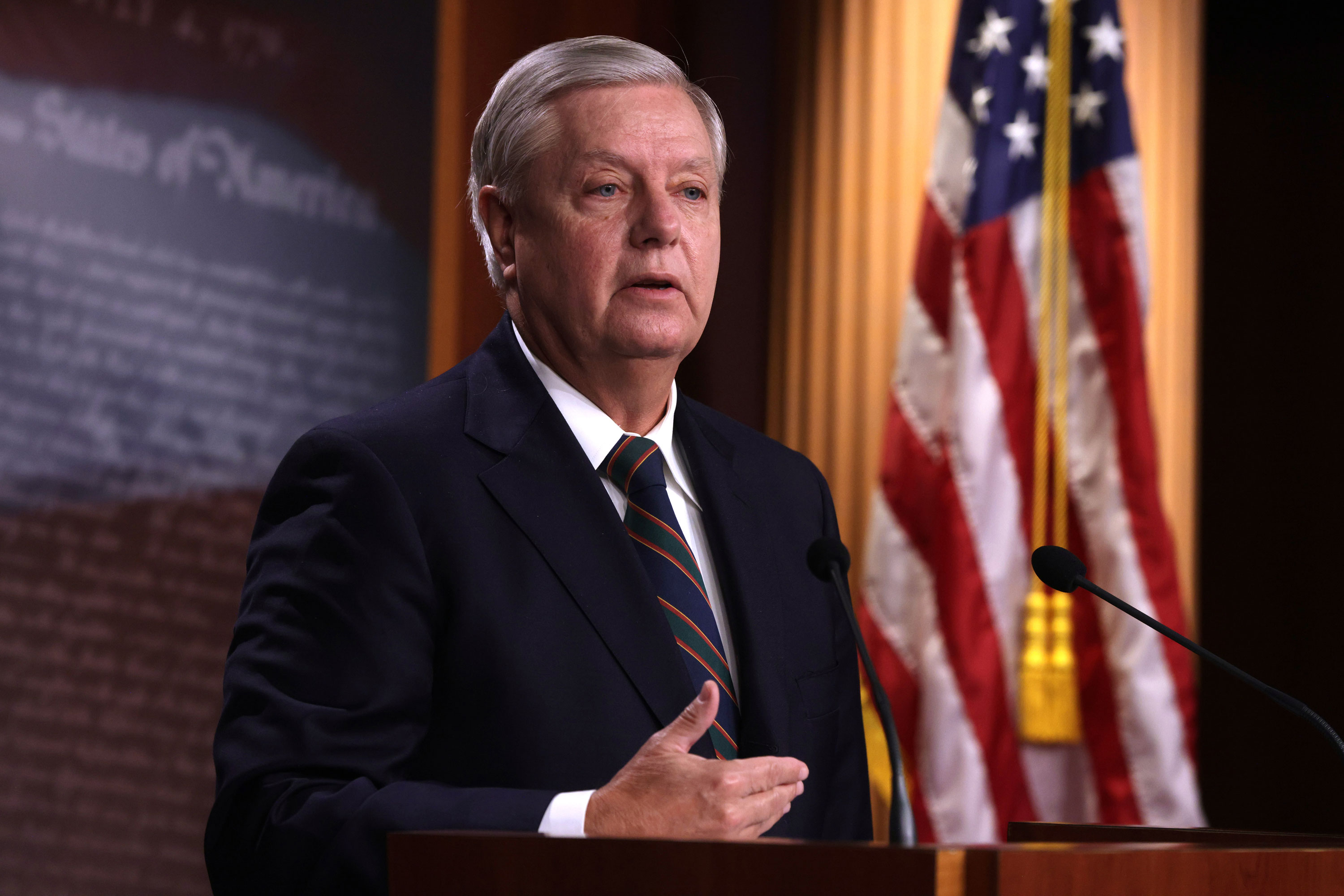 Sen. Lindsey Graham speaks during a news conference at the Capitol on January 7.