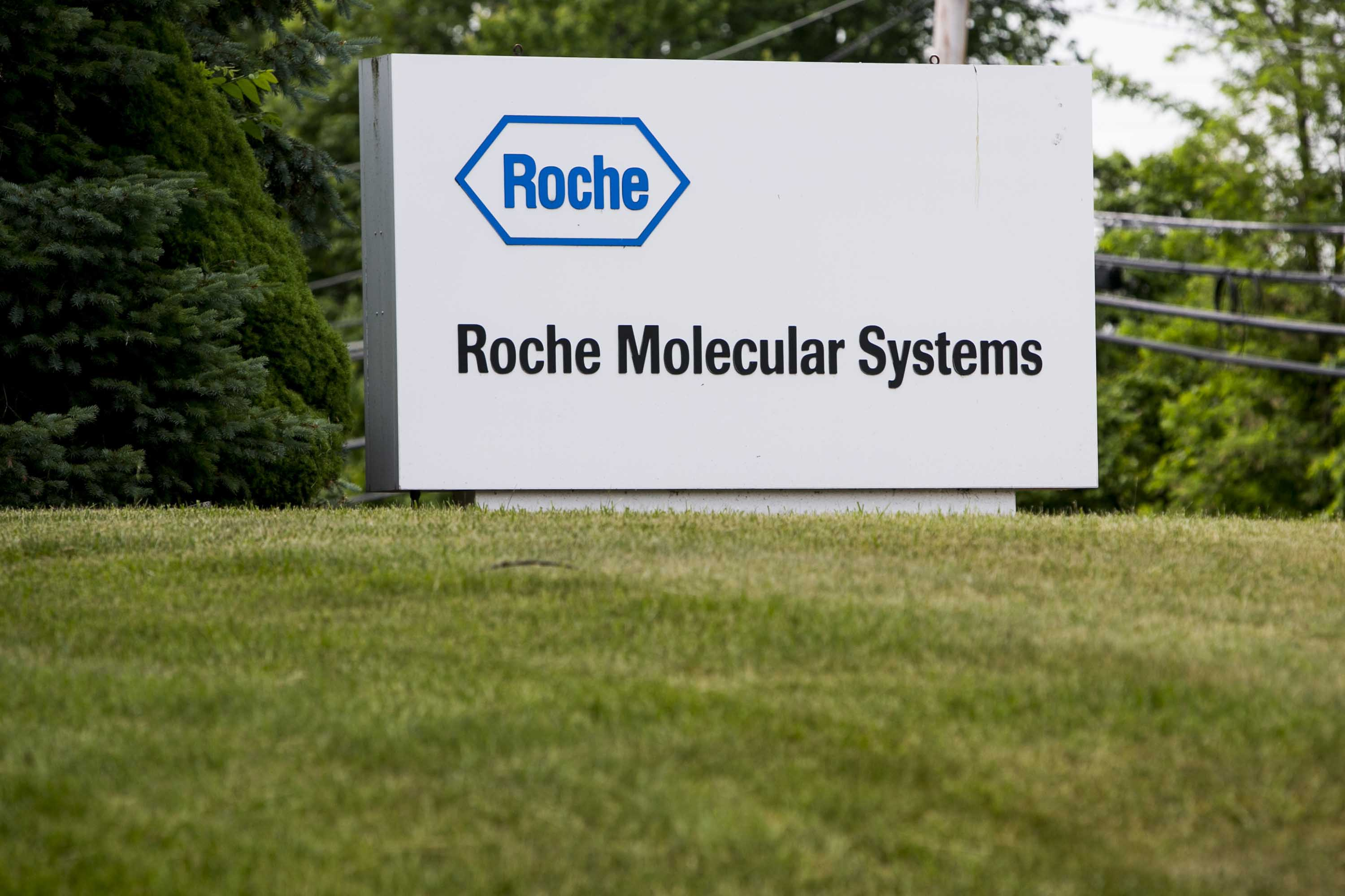 A sign for Roche Molecular Systems is pictured in Branchburg, New Jersey, in May 2015.