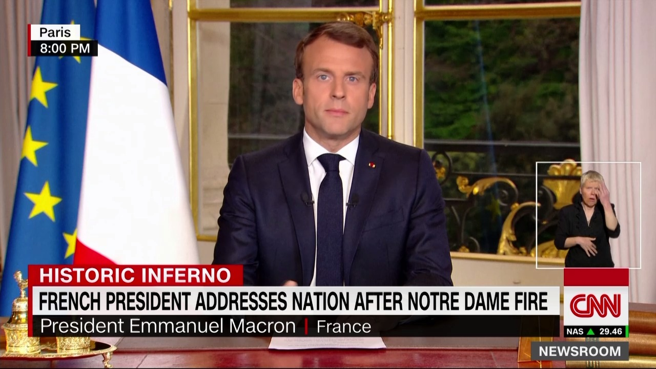 Now French President Addresses The Nation After Notre Dame Fire