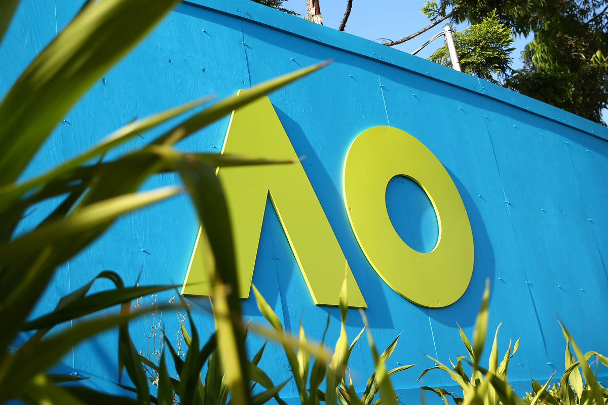 Australian Open signage is seen at Melbourne Park on January 18 in Melbourne, Australia.
