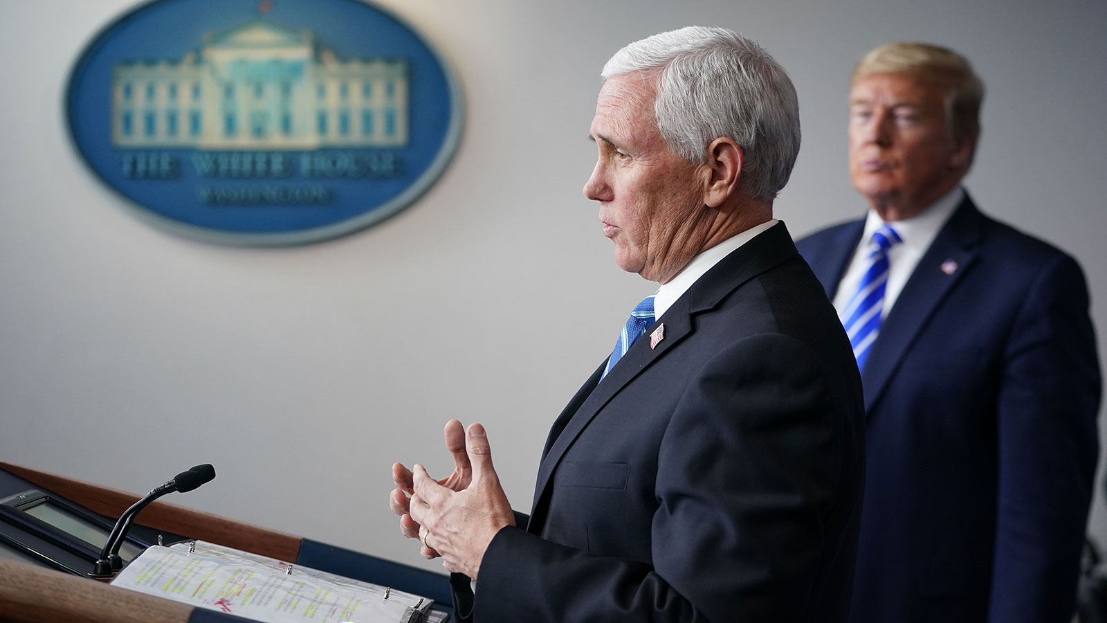US Vice President Mike Pence speaks during the daily briefing on the novel coronavirus, which causes COVID-19, in the Brady Briefing Room of the White House on April 23.