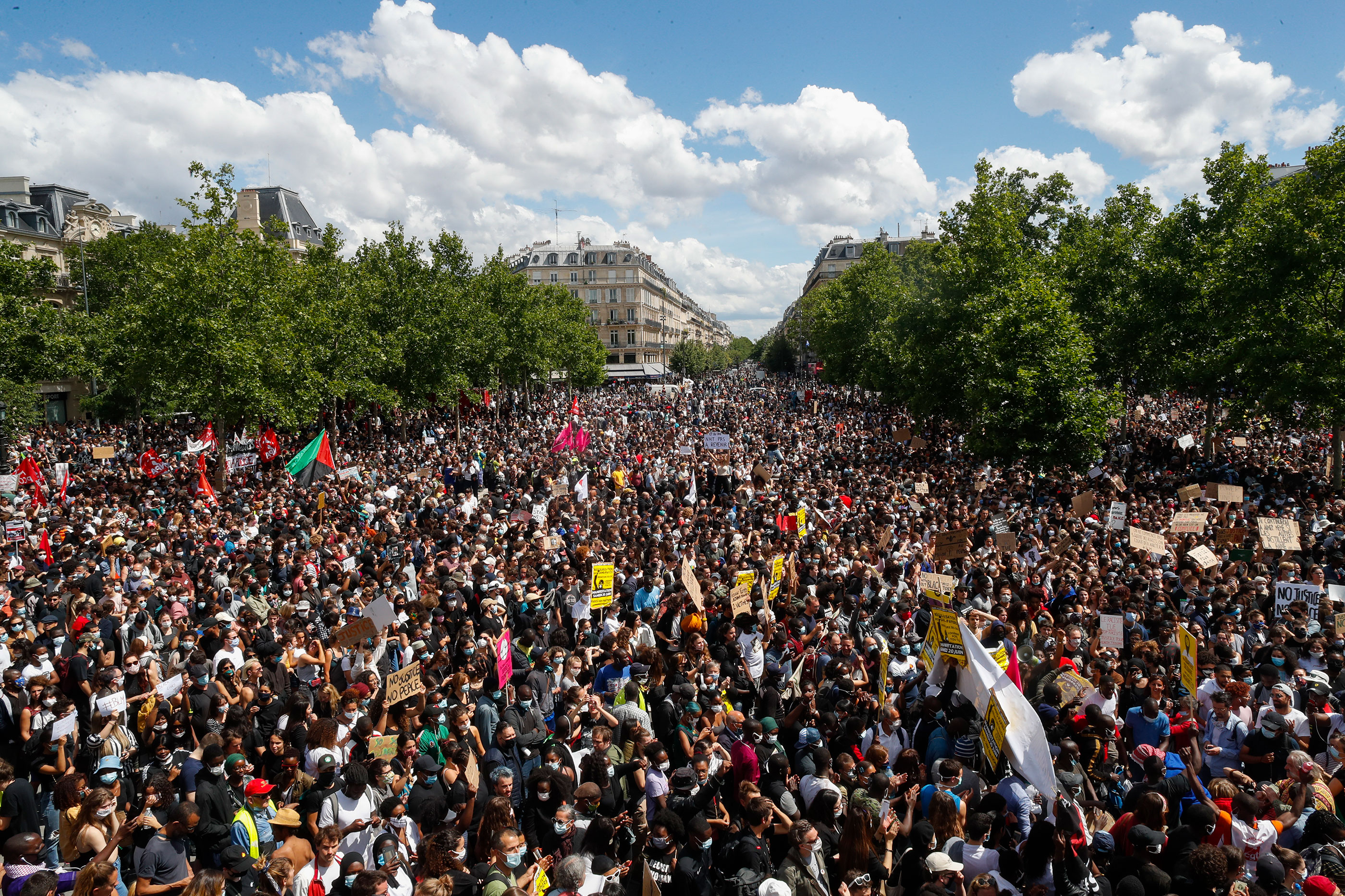 Thousands of people demonstrate against police brutality and racism in Paris, France, on June 13.