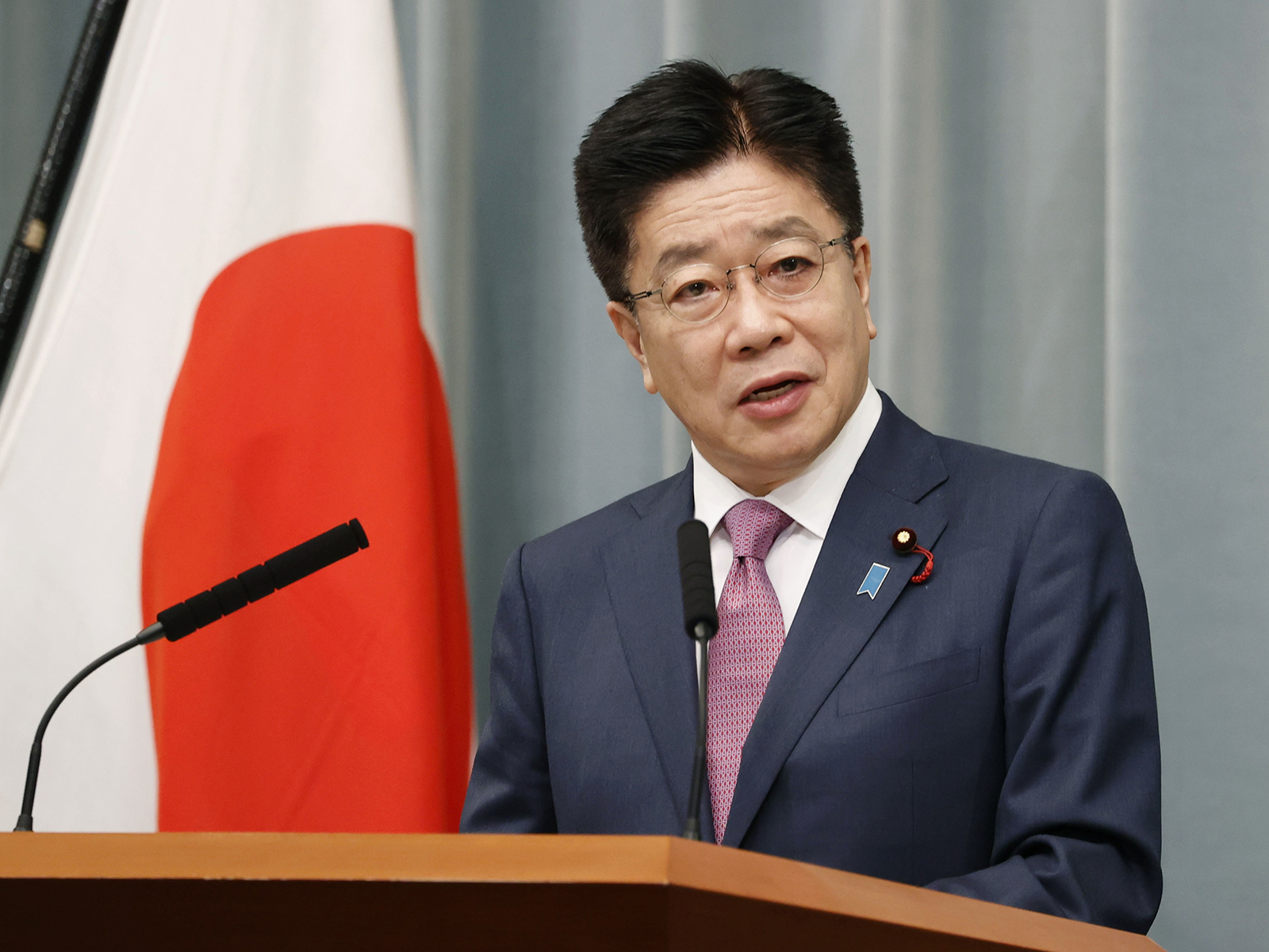 Japanese Chief Cabinet Secretary Katsunobu Kato attends a news conference in Tokyo, on Dec. 8.