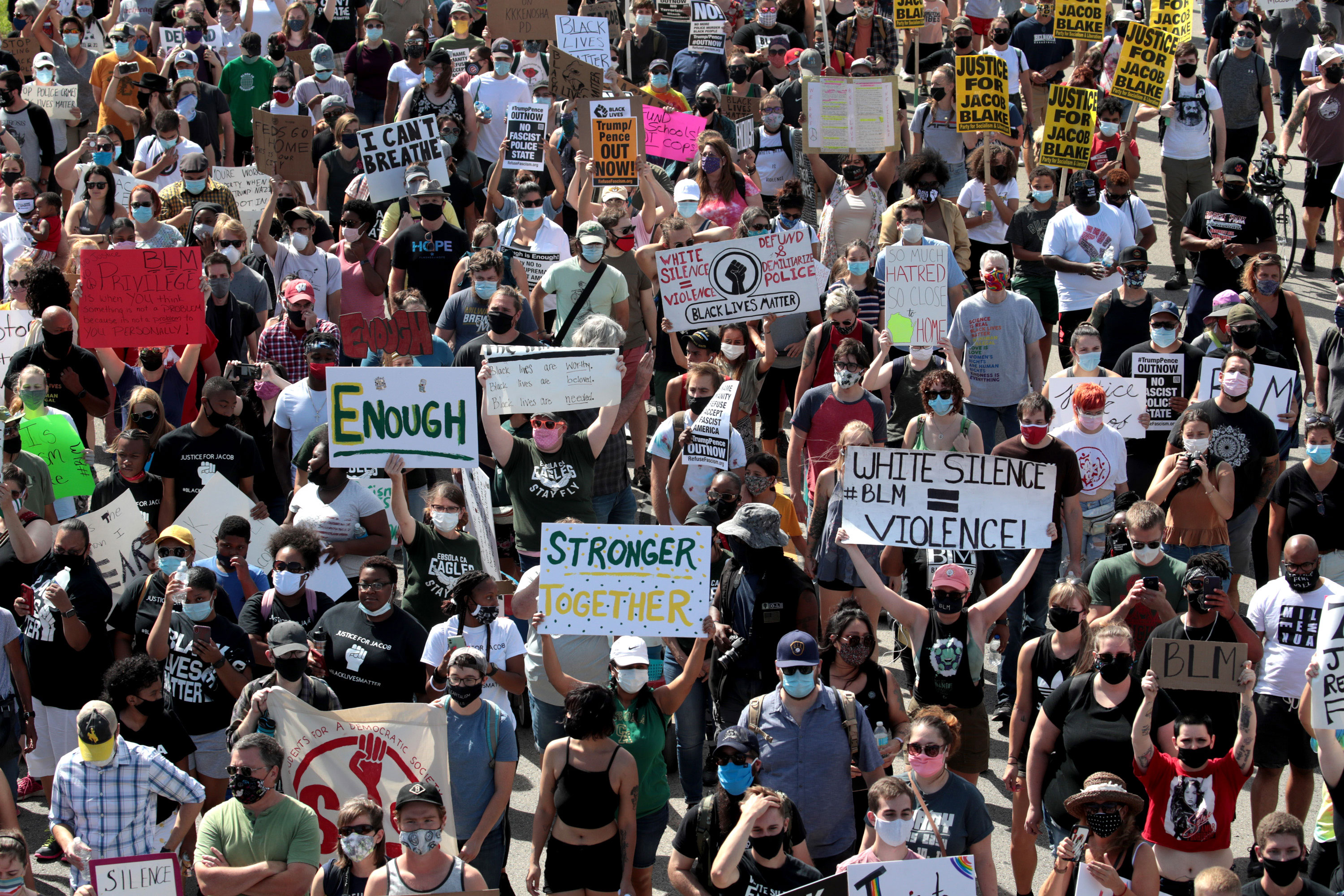 People march to the Kenosha County Courthouse on August 29 in Kenosha, Wisconsin.