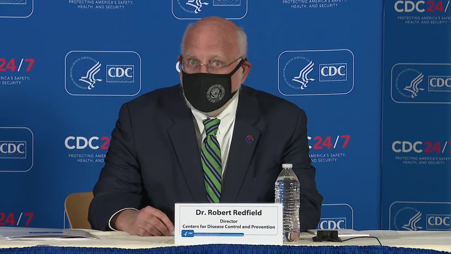Director of the Centers for Disease Control and Prevention Dr. Robert Redfield speaks during a press conference on December 4 in Atlanta.