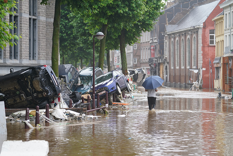 Flooded streets in Verviers, Belgium, after heavy rainfall, Thursday, July 15.