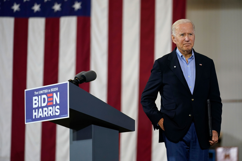 Democratic presidential nominee Joe Biden leaves an event in New Alexandria, Pennsylvania, on September 30.