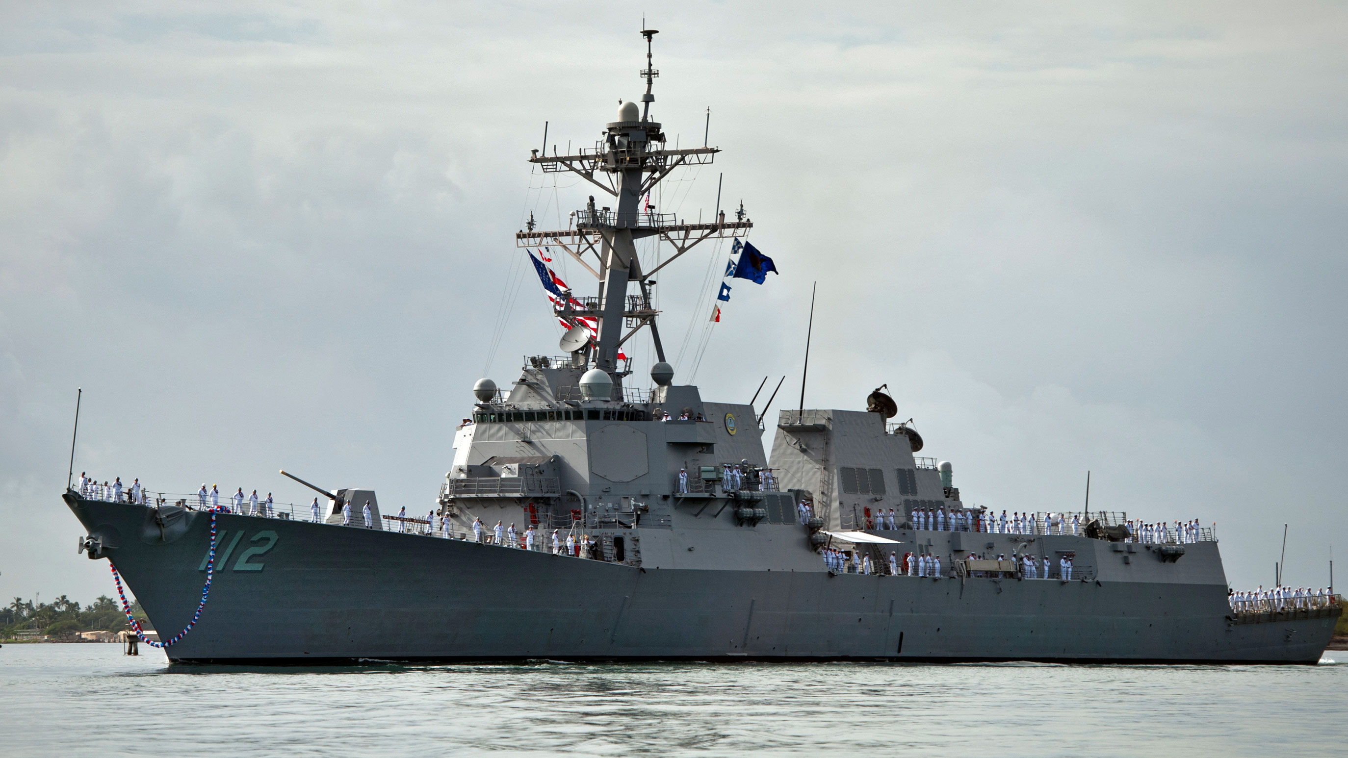 The guided missile destroyer USS Michael Murphy (DDG 112) arrives at Joint Base Pearl Harbor-Hickam in Hawaii on November 21, 2012.