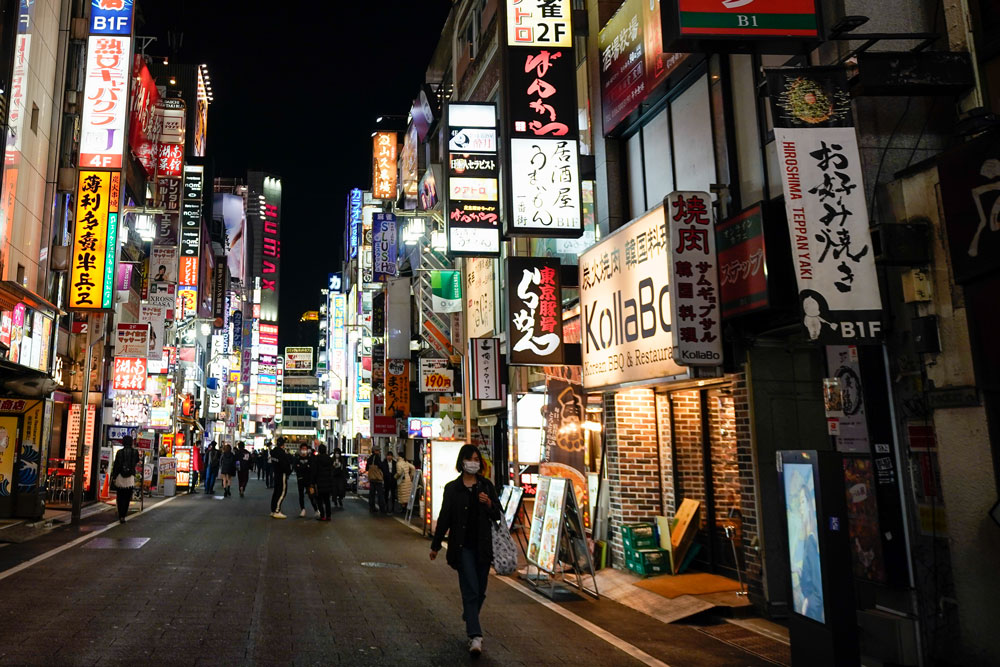 A general view of Tokyo's Kabukicho adult entertainment area seen less busy in the Shinjuku district on April 7, in Tokyo, Japan.
