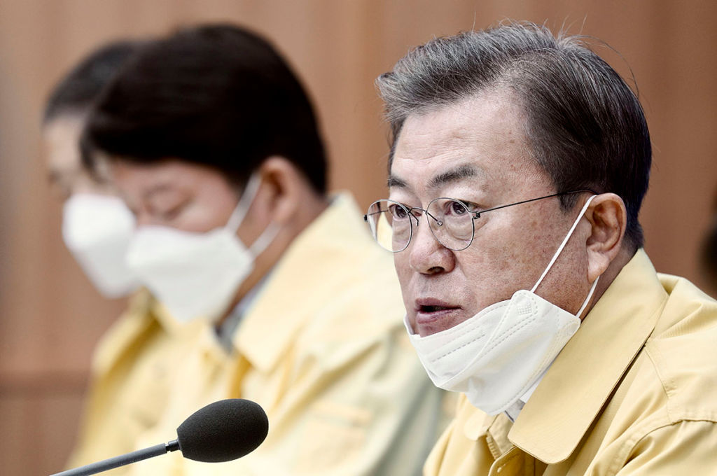 South Korean President Moon Jae-in talks during a meeting to discuss measures to prevent the further spread of coronavirus in Daegu on February 25.
