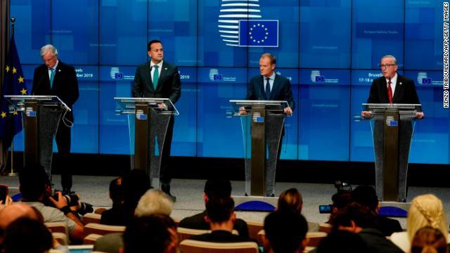 From left: EU negotiator Michel Barnier, Irish PM Leo Varadkar, EU Council President Donald Tusk, EU Commission President Jean-Claude Juncker