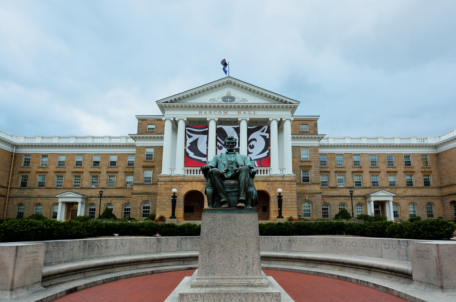 Bascom Hall and a statue of Abraham Lincoln are seen on the campus of the University of Wisconsin–Madison.