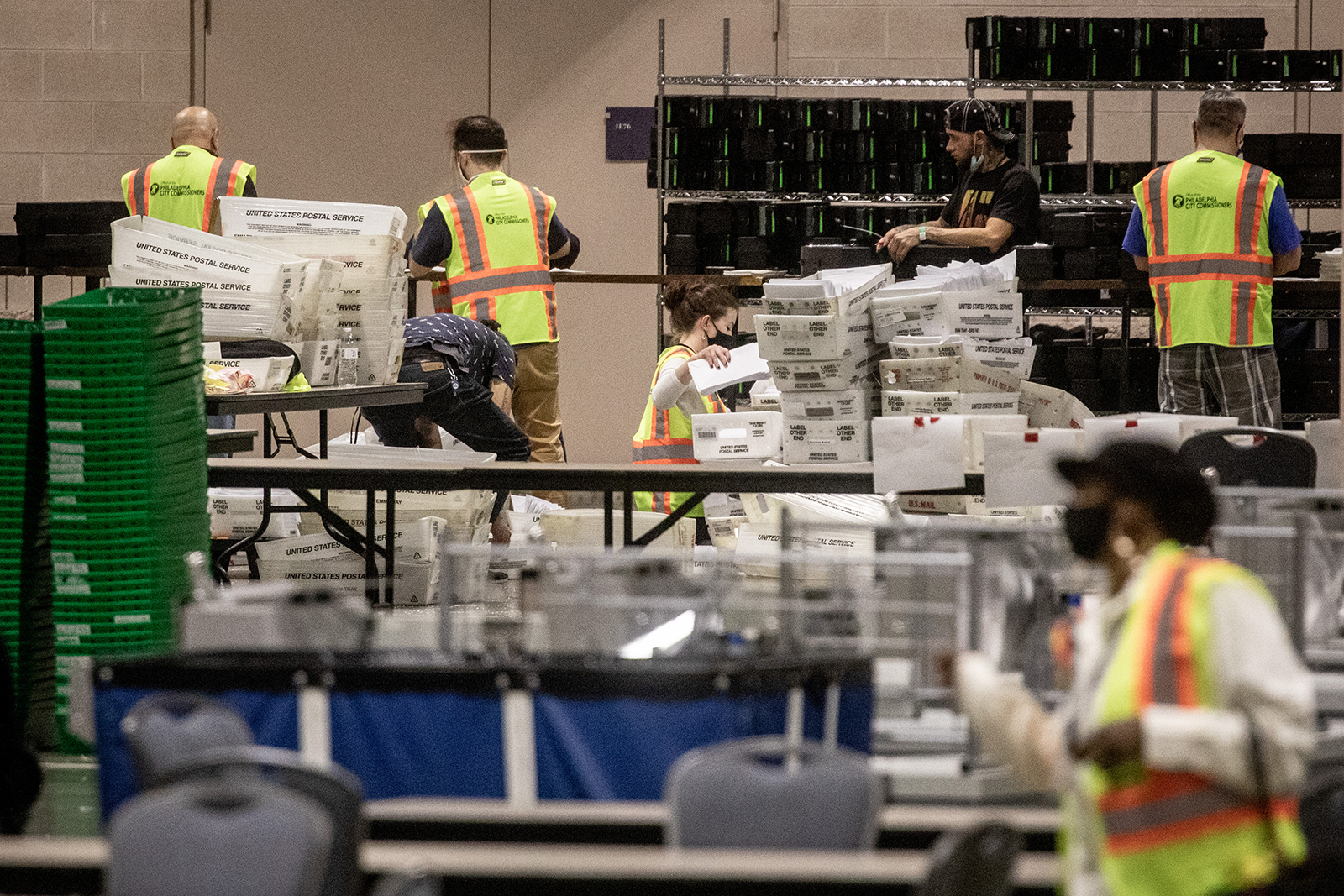 Ballots are counted at the Philadelphia Convention center on November 6, in Philadelphia, Pennsylvania.