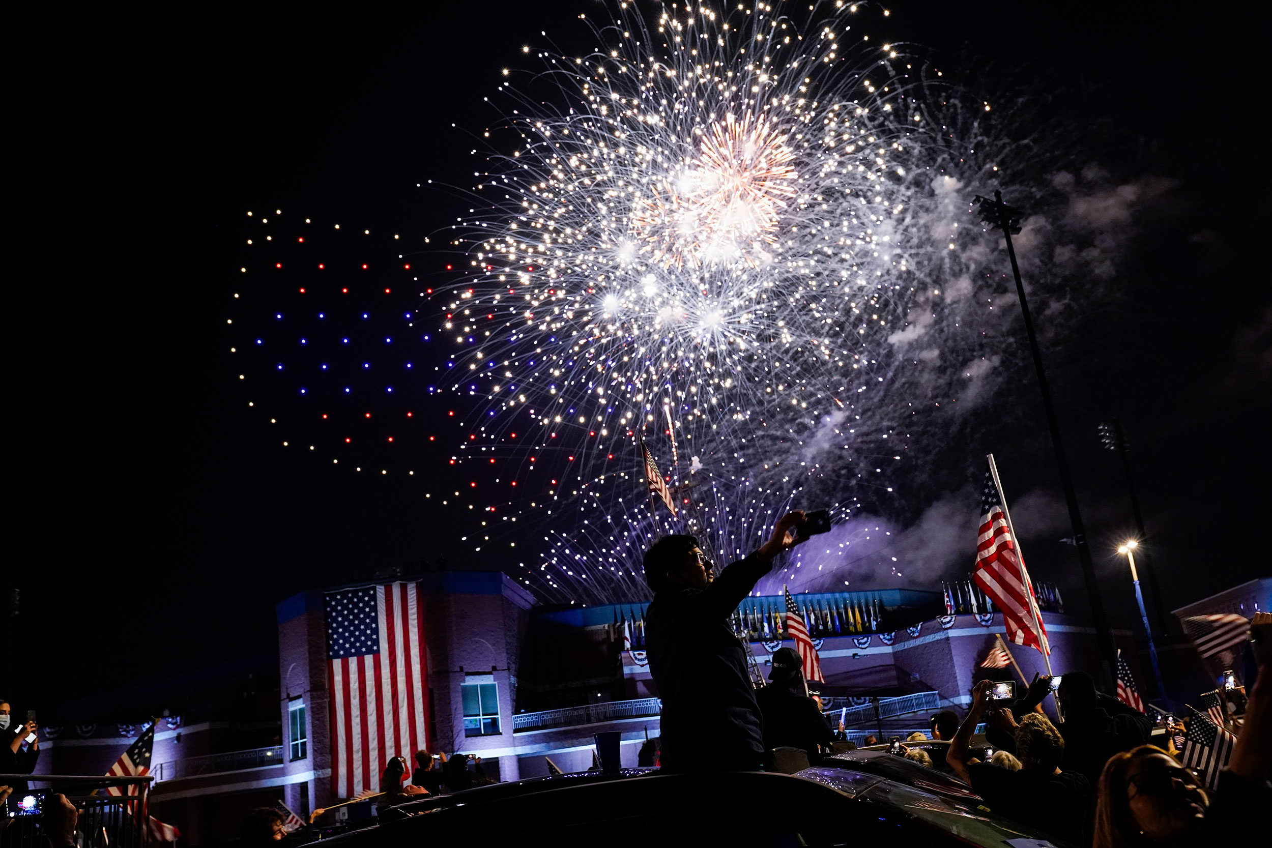 Fireworks go off after an event by President-elect Joe Biden on November 7 in Wilmington, Delaware.
