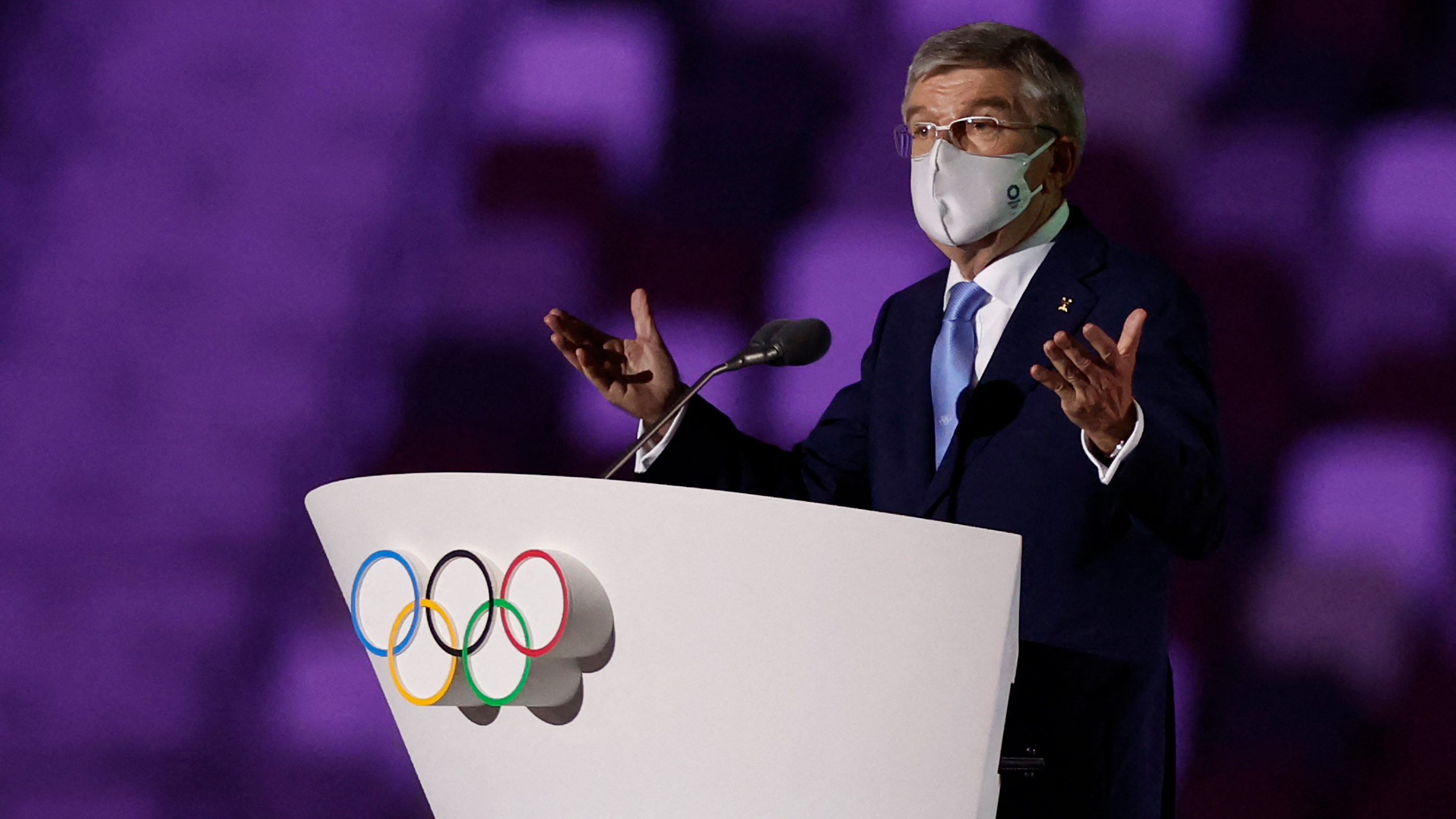President of the International Olympic Committee Thomas Bach delivers a speechduring the Opening Ceremony on July 23.