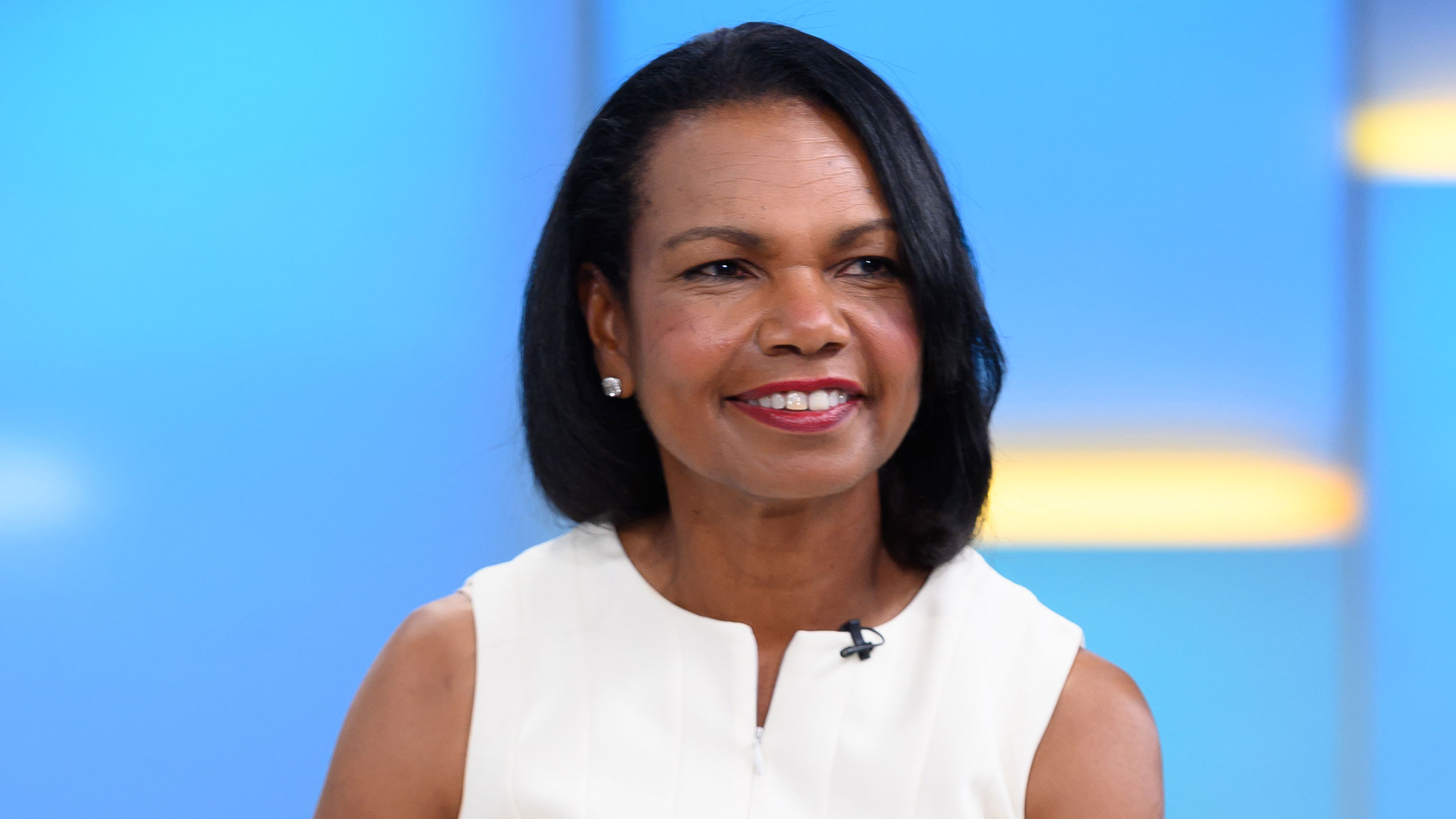 "Former US Secretary of State Condoleeza Rice visits ""FOX & Friends"" on September 10, 2019 in New York City."
