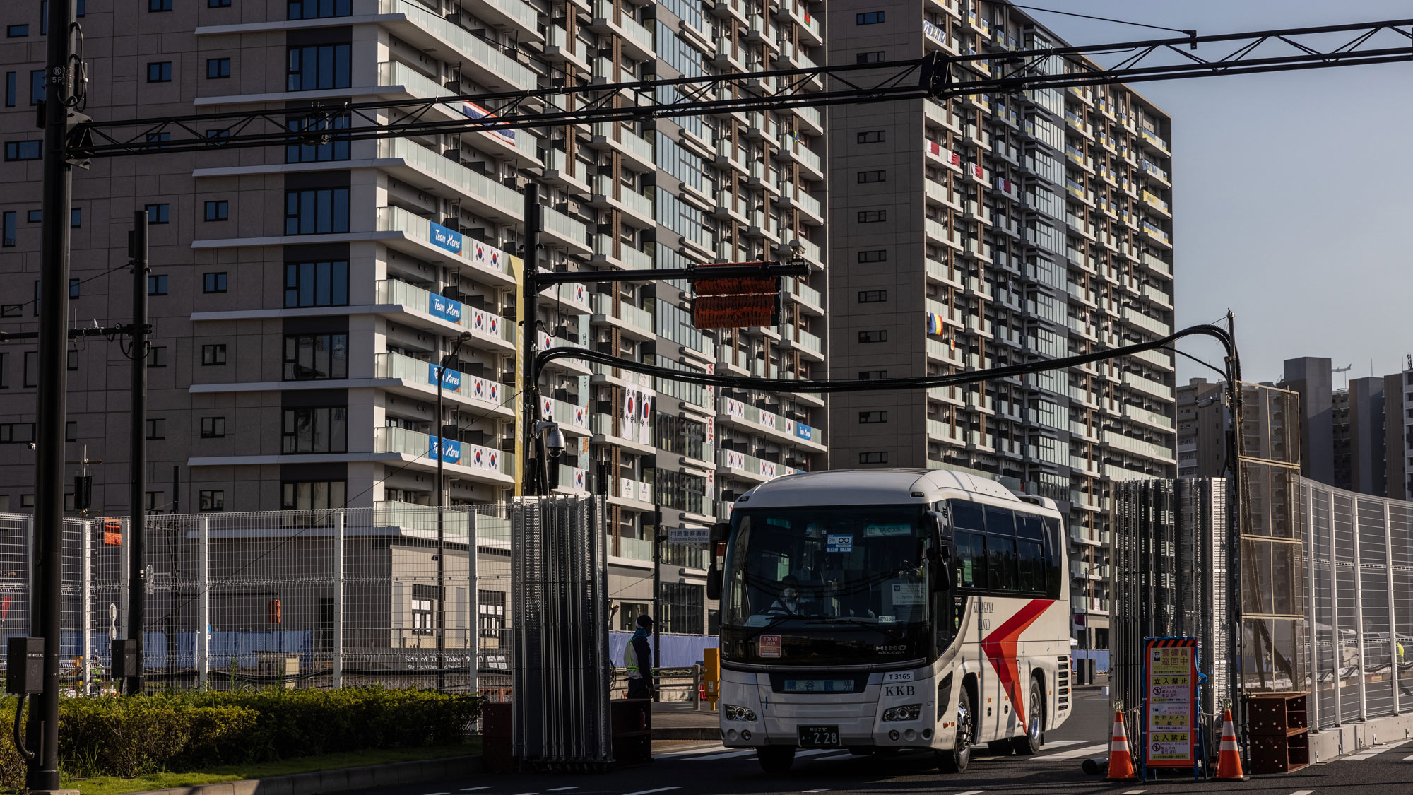 A bus leaves the Tokyo Olympics Village on July 19 in Tokyo.