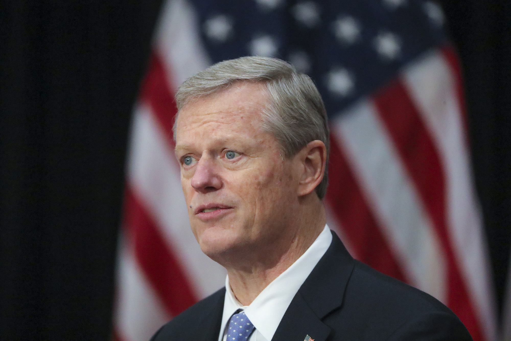 Governor Charlie Baker speaks about the mask mandate at the Massachusetts State House in Boston, on November 3.