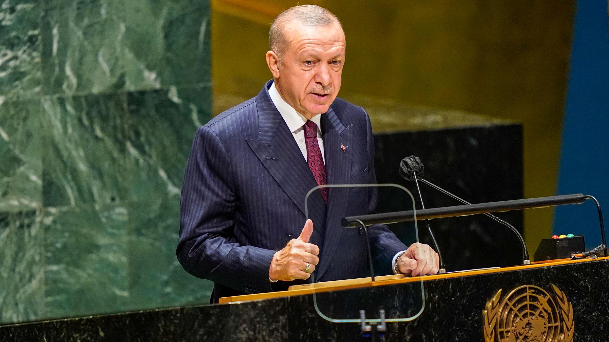 Turkish President Recep Tayyip Erdogan addresses the General Assembly on Tuesday.