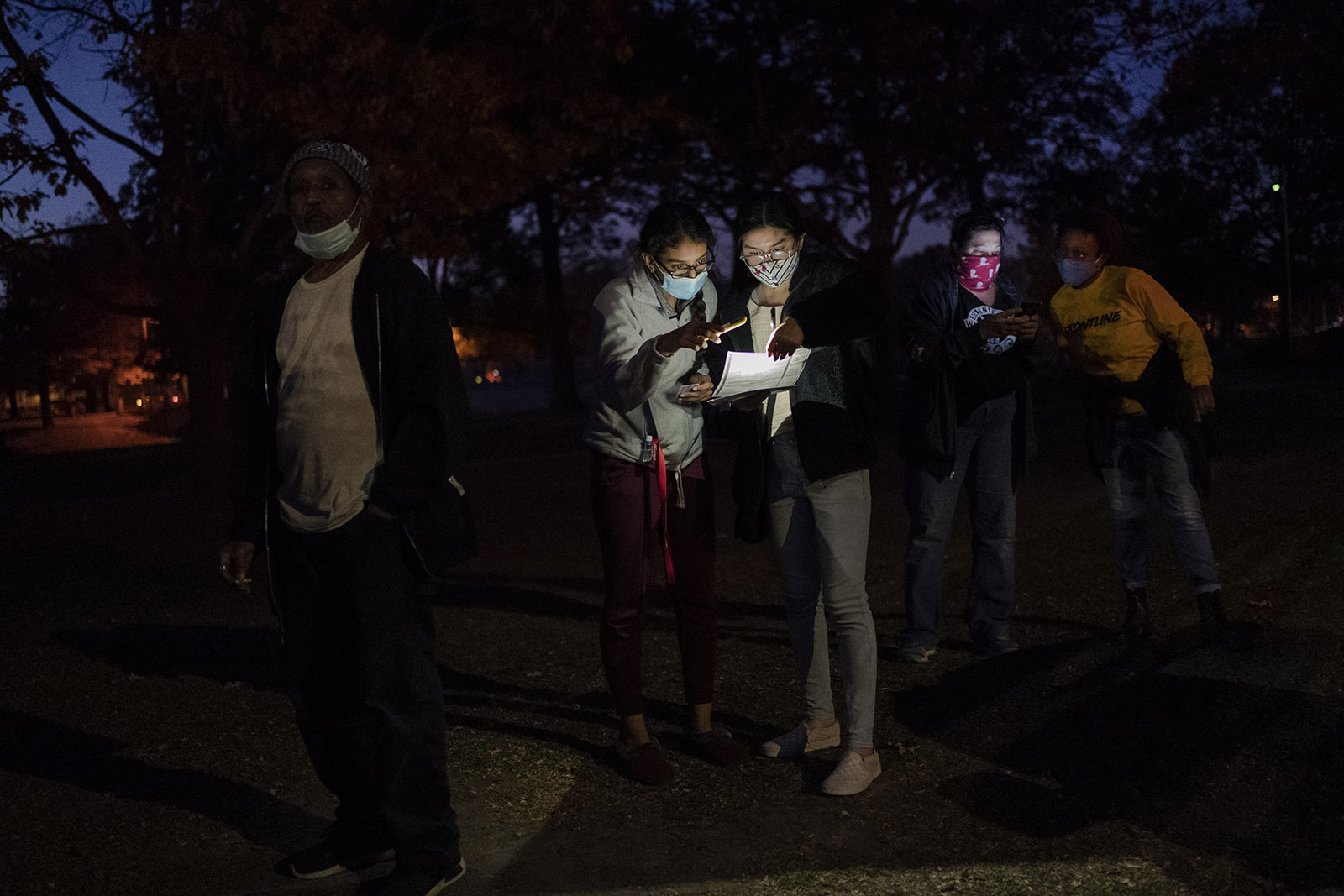 Voters wait in line at a polling center on Election Day, in Kenosha, Wisconsin.