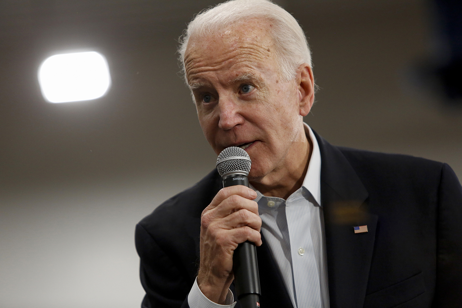 In this February 2, 2020 photo, Democratic presidential nominee Joe Biden speaks during a campaign event at Hiatt Middle School in Des Moines, Iowa.