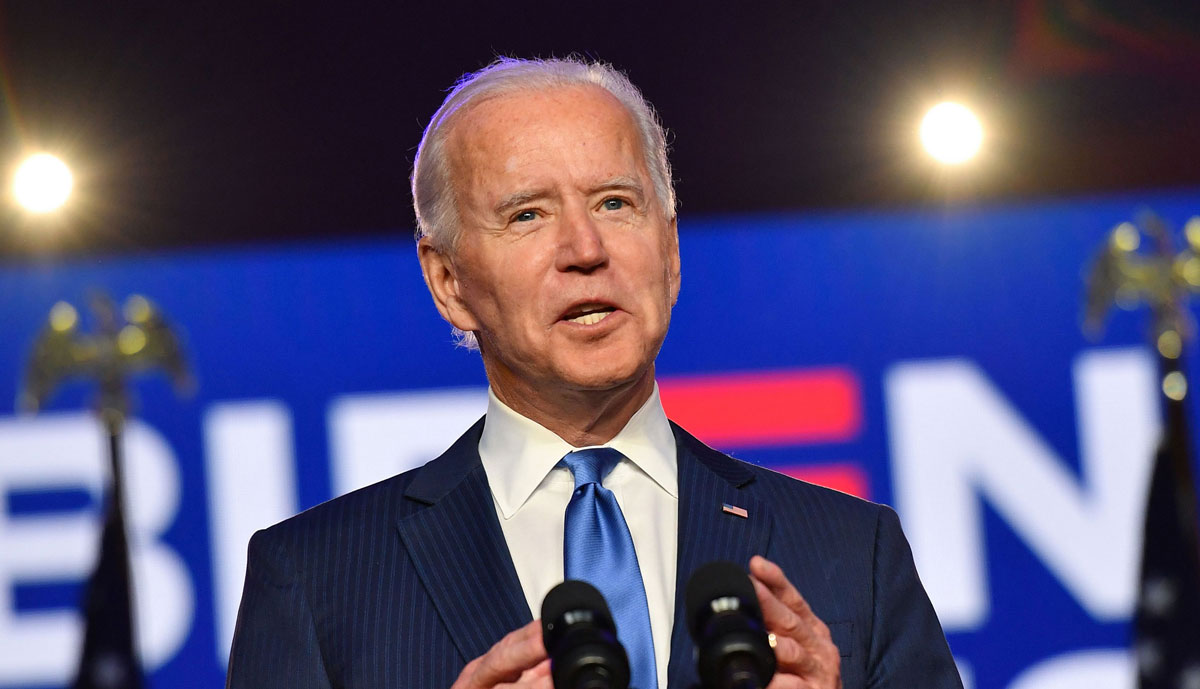 Joe Biden speaks at the Chase Center in Wilmington, Delaware, on November 6.