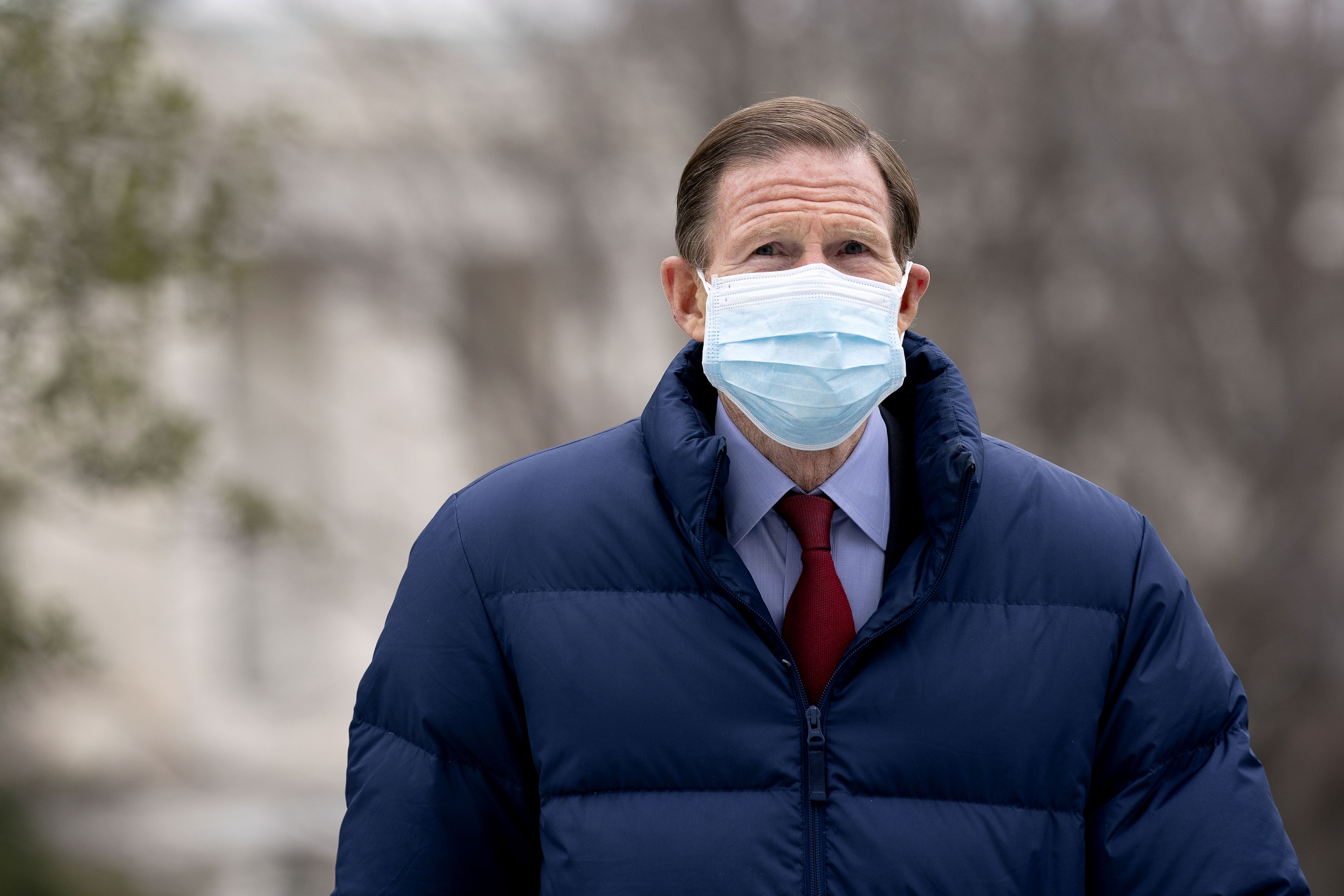 US Sen. Richard Blumenthal arrives at the Capitol in Washington, DC, on February 12.