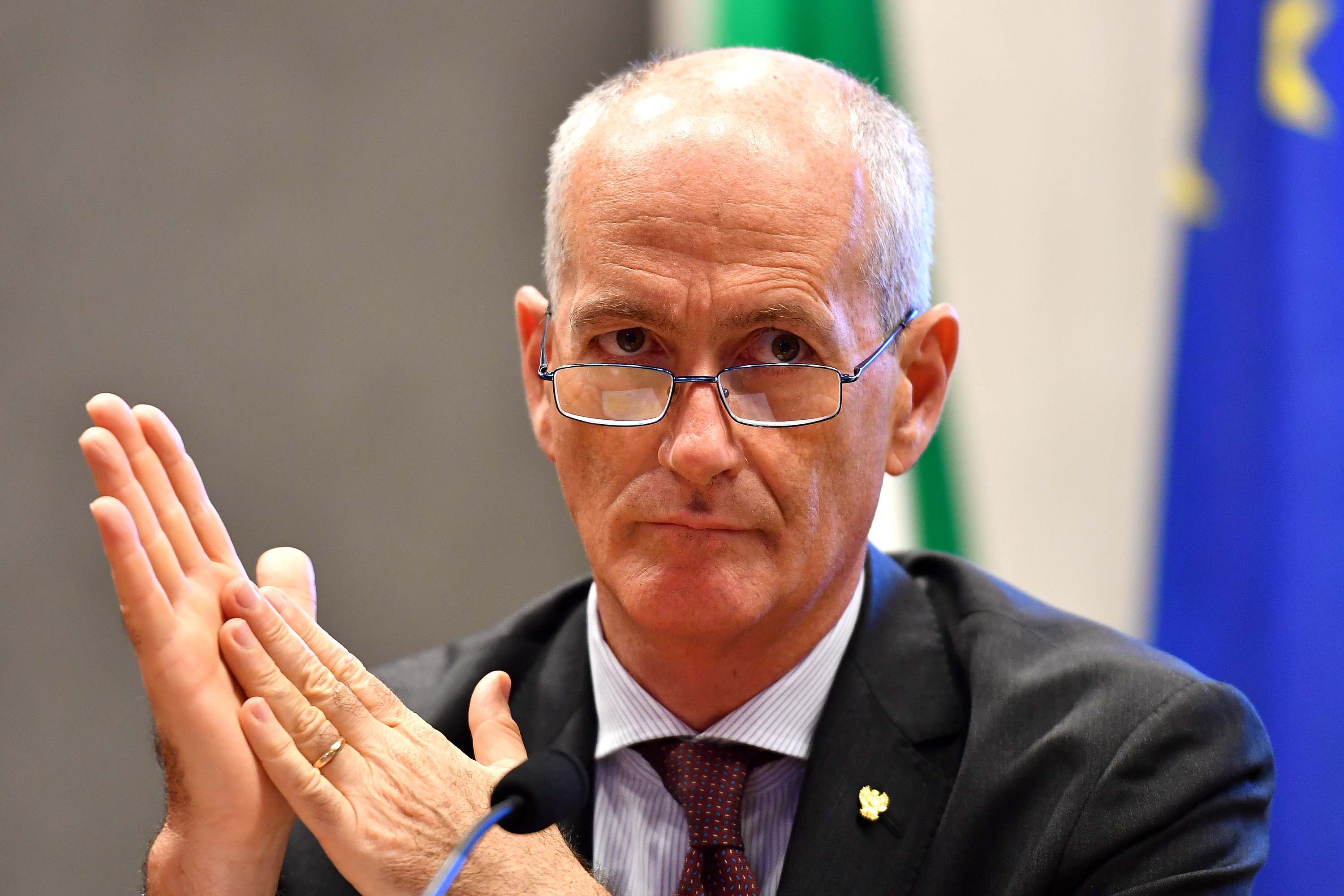 Head of Italian Police Franco Gabrielli addresses a press conference in Rome, Italy, in July 2018.