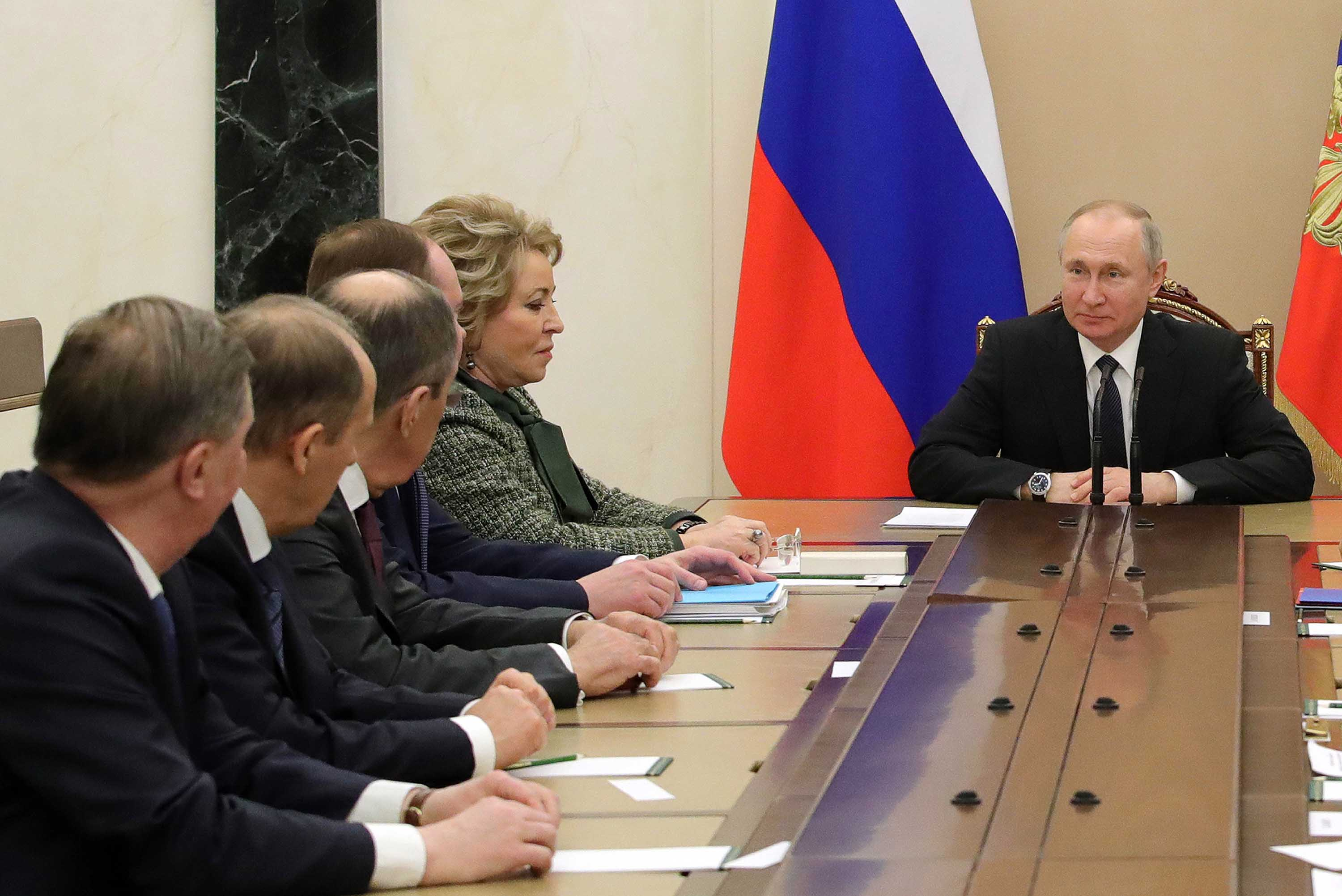 Russian President Vladimir Putin chairs a security council meeting at the Kremlin in Moscow, Russia, on March 20.