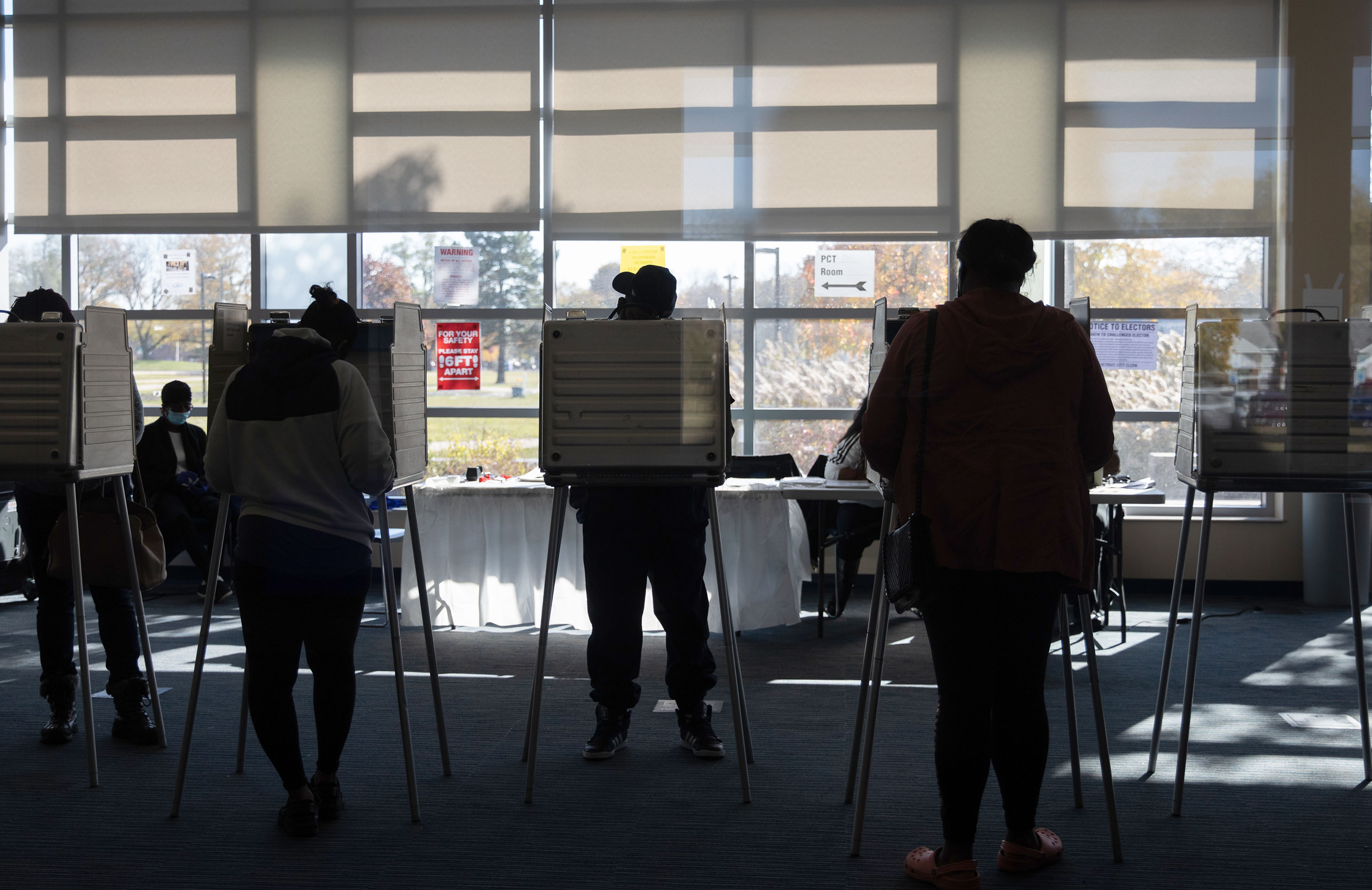 Voters cast ballots at a polling location in Detroit, Michigan, on Tuesday, November 3.