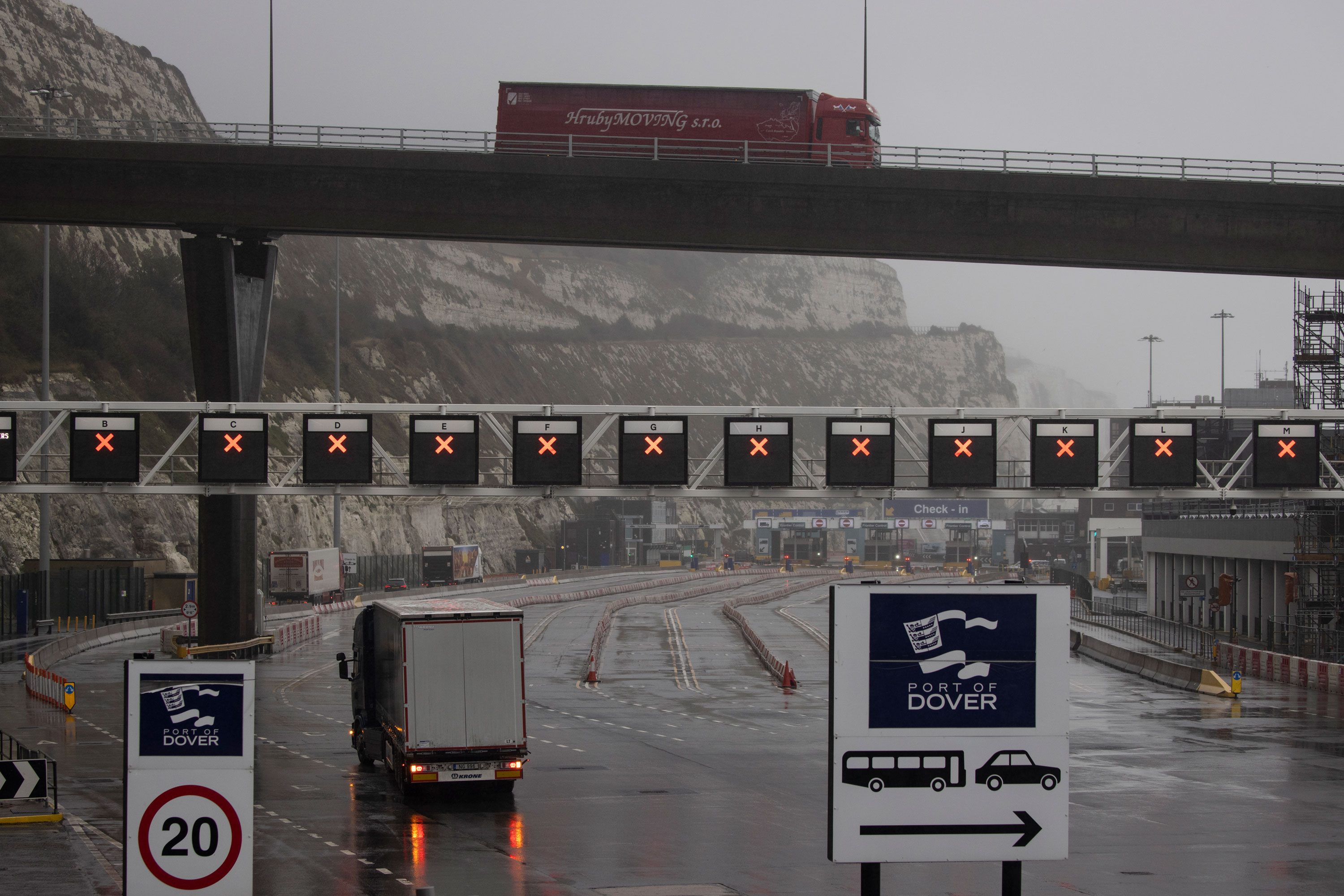 The Port of Dover in England is closed on December 21.