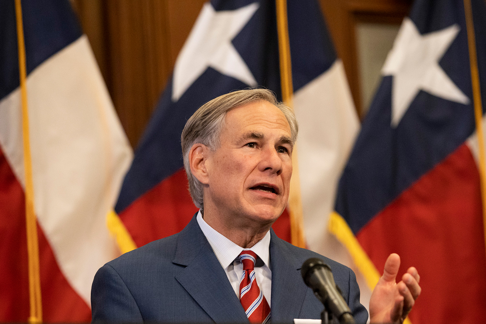 Texas Gov. Greg Abbott speaks at a press conference at the Texas State Capitol in Austin on May 18.