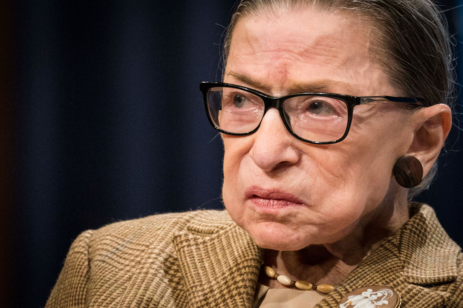 Justice Ruth Bader Ginsburg participates in a discussion at the Georgetown University Law Center on February 10.