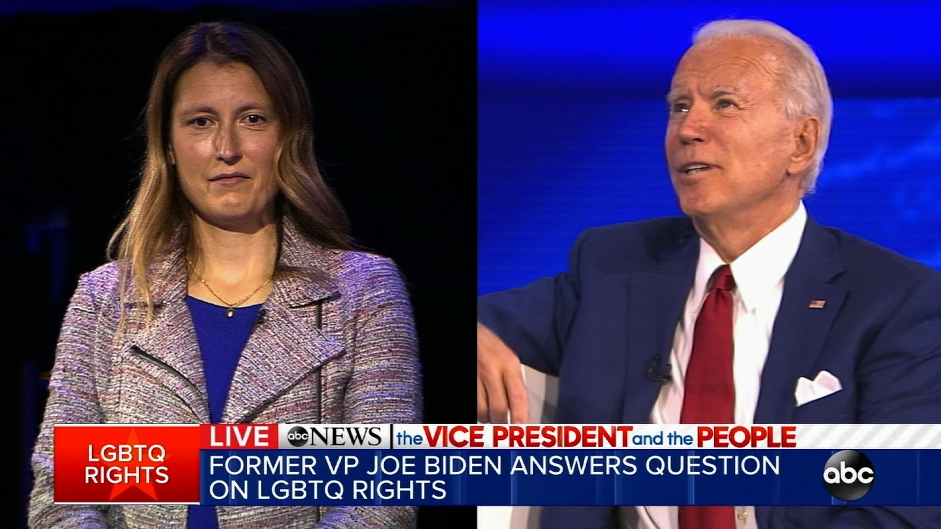 Democratic presidential candidate Joe Biden answers a question from a guest.