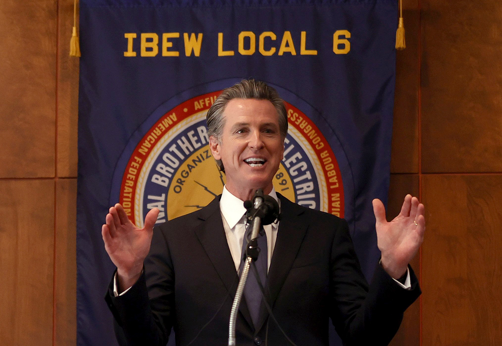 California Gov. Gavin Newsom speaks to union workers and volunteers on election day at the IBEW Local 6 union hall on September 14 in San Francisco.