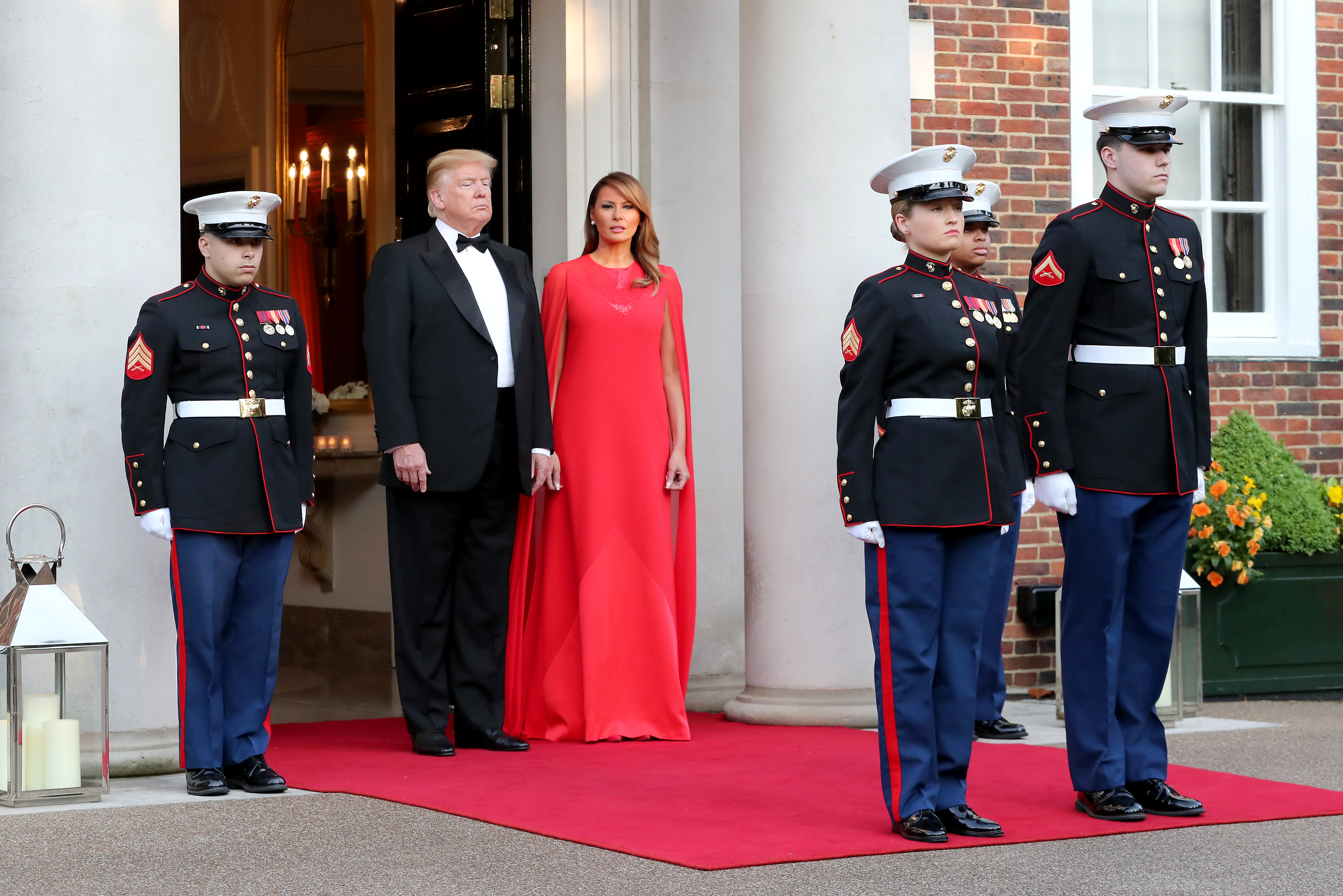 President Trump and first lady Melania Trump pose ahead of a dinner at Winfield House for Prince Charles, Prince of Wales, and Camilla, Duchess of Cornwall, during their state visit on June 4, 2019 in London, England.