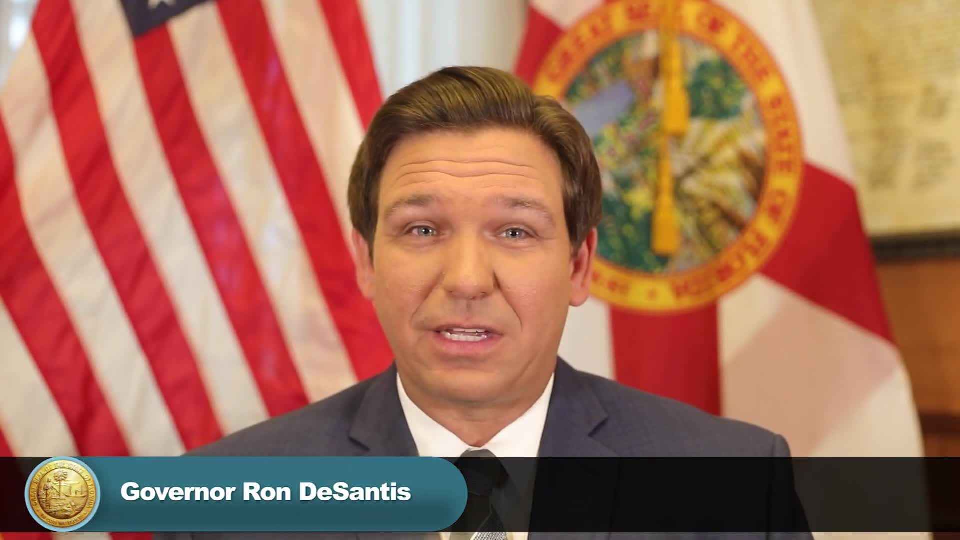Florida Gov. Ron DeSantis speaks during a pre-taped update.