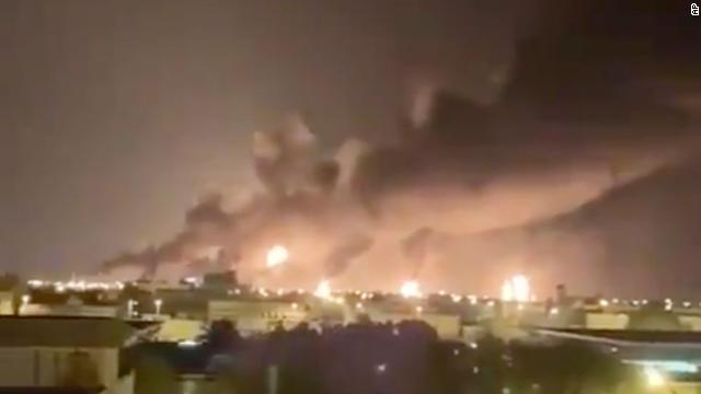 A haze of smoke is seen from the attacked oil plant in Saudi Arabia.
