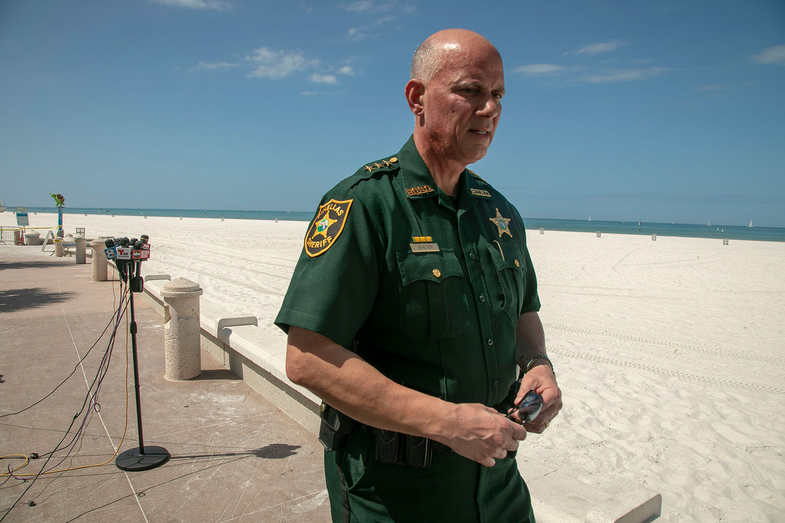 Pinellas County Sheriff Bob Gualtieri at a press conference on March 21 in Clearwater Beach, Florida.