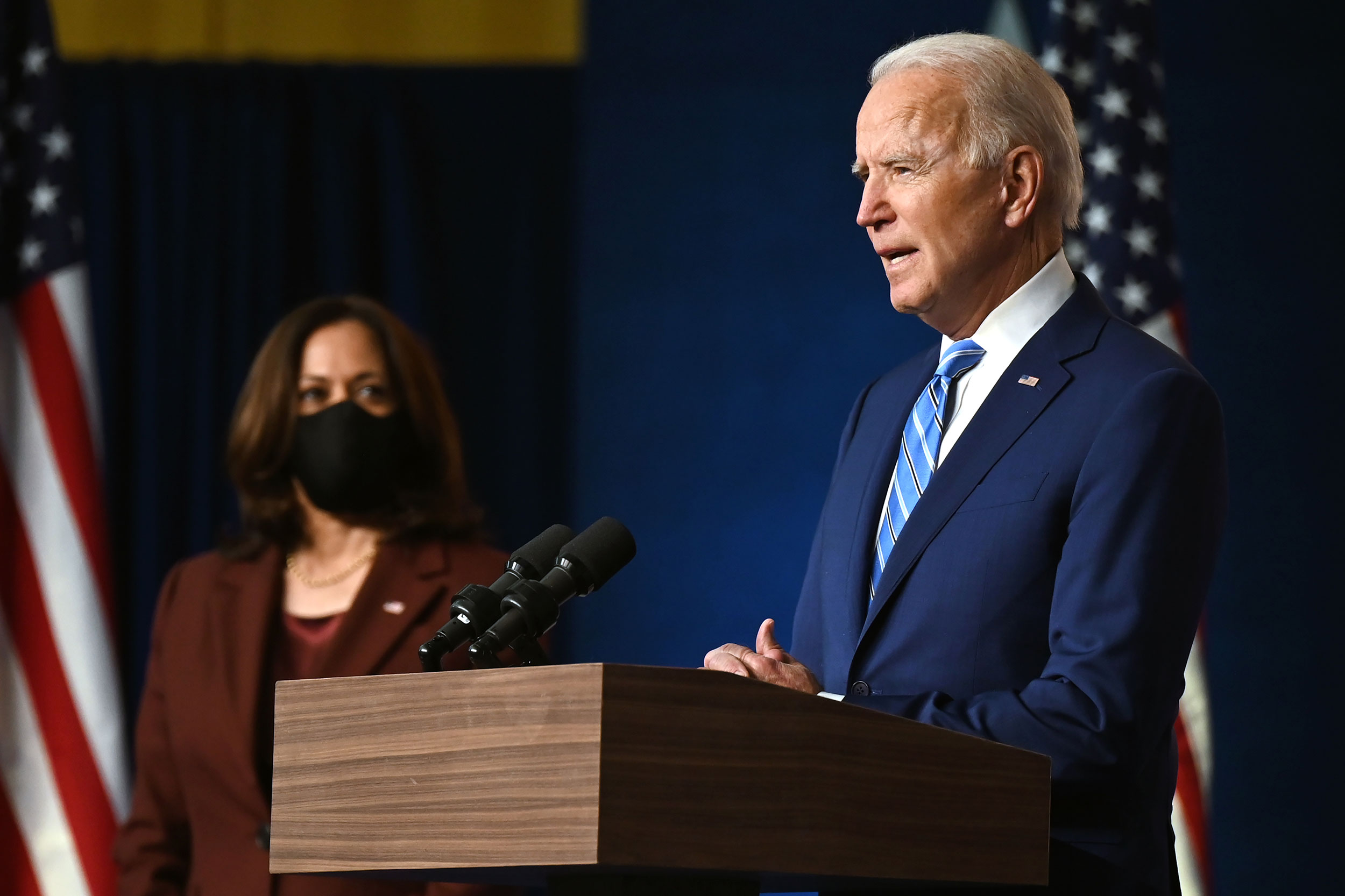 Joe Biden and Kamala Harris speak at the Chase Center in Wilmington, Delaware, on November 4.
