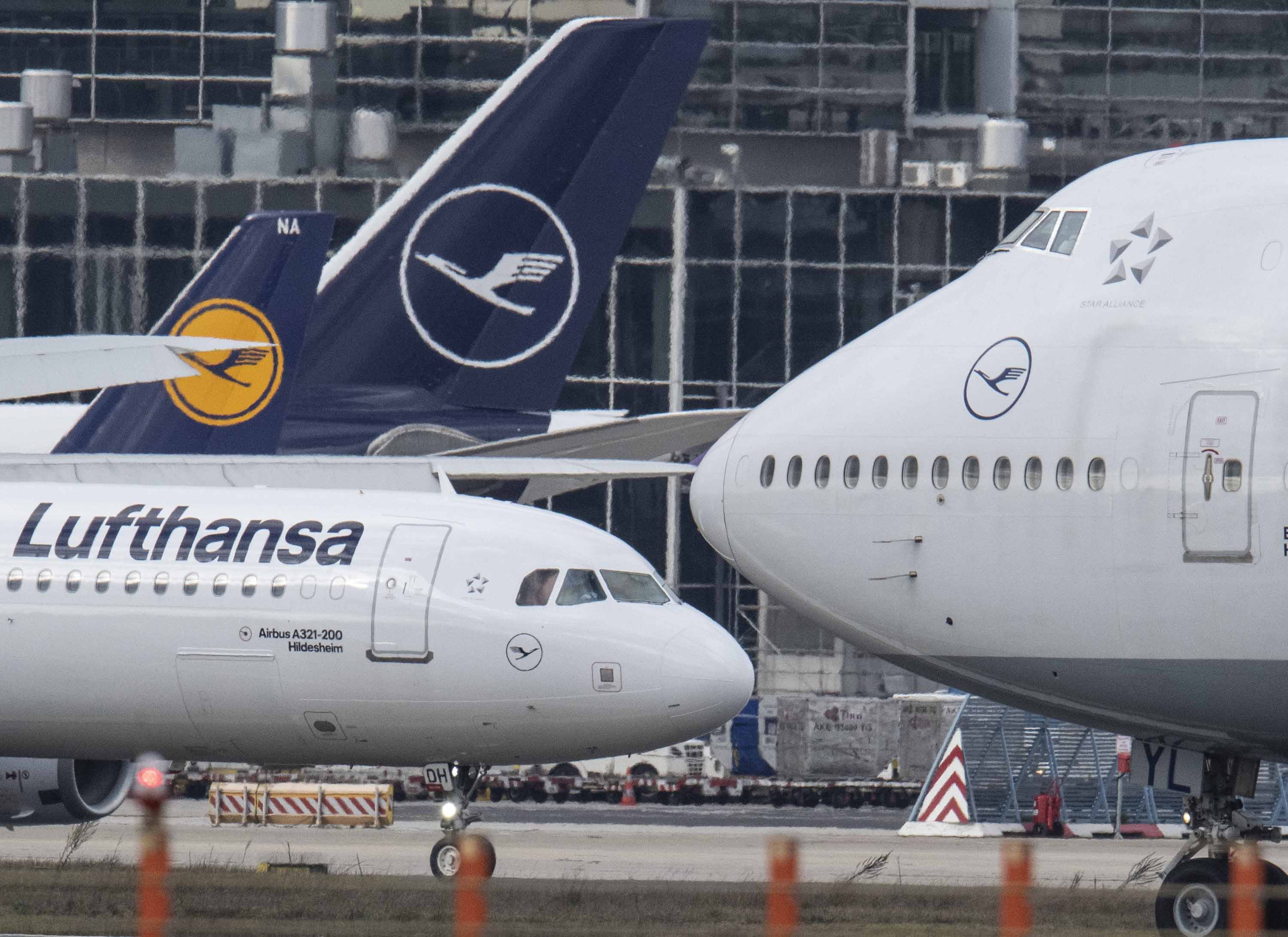 Lufthansa planes are seen in Frankfurt, Germany on February 18.